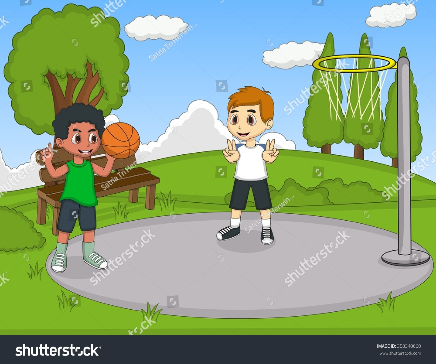 playing in the park cartoon