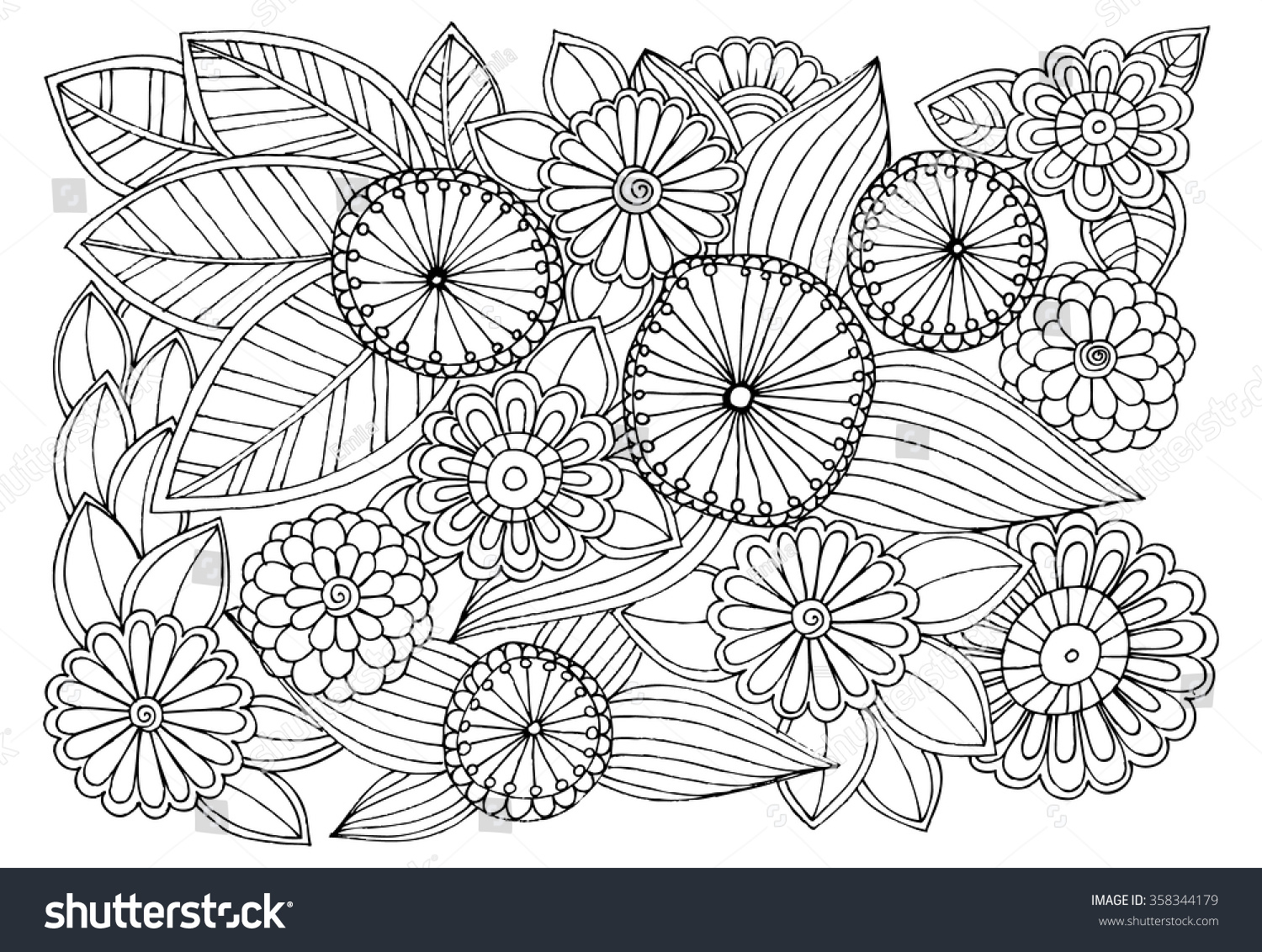 Coloring pages relaxing - Doodle Floral Pattern In Black And White Page For Coloring Book Very Interesting And