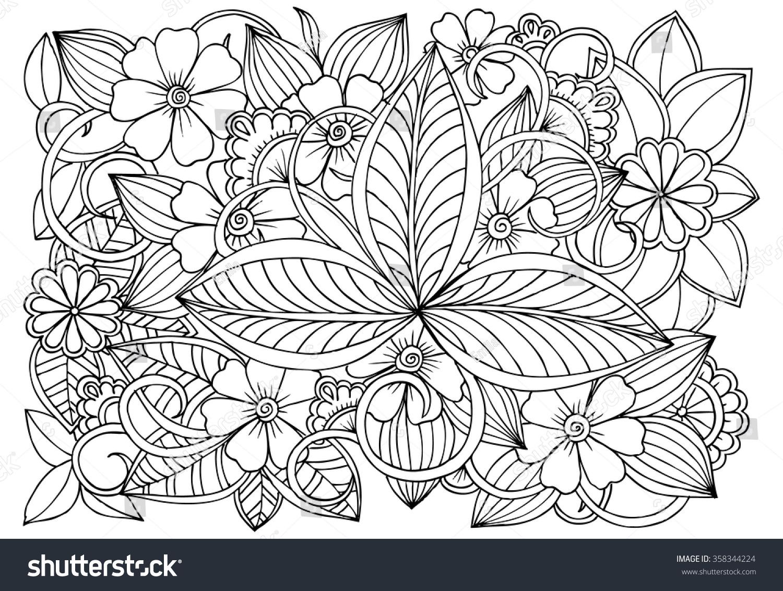 Doodle Floral Pattern Black White Page Vectores En Stock