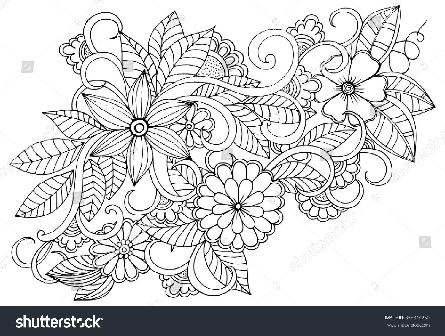 Doodle floral pattern black white page stock vector Relaxing coloring books for adults