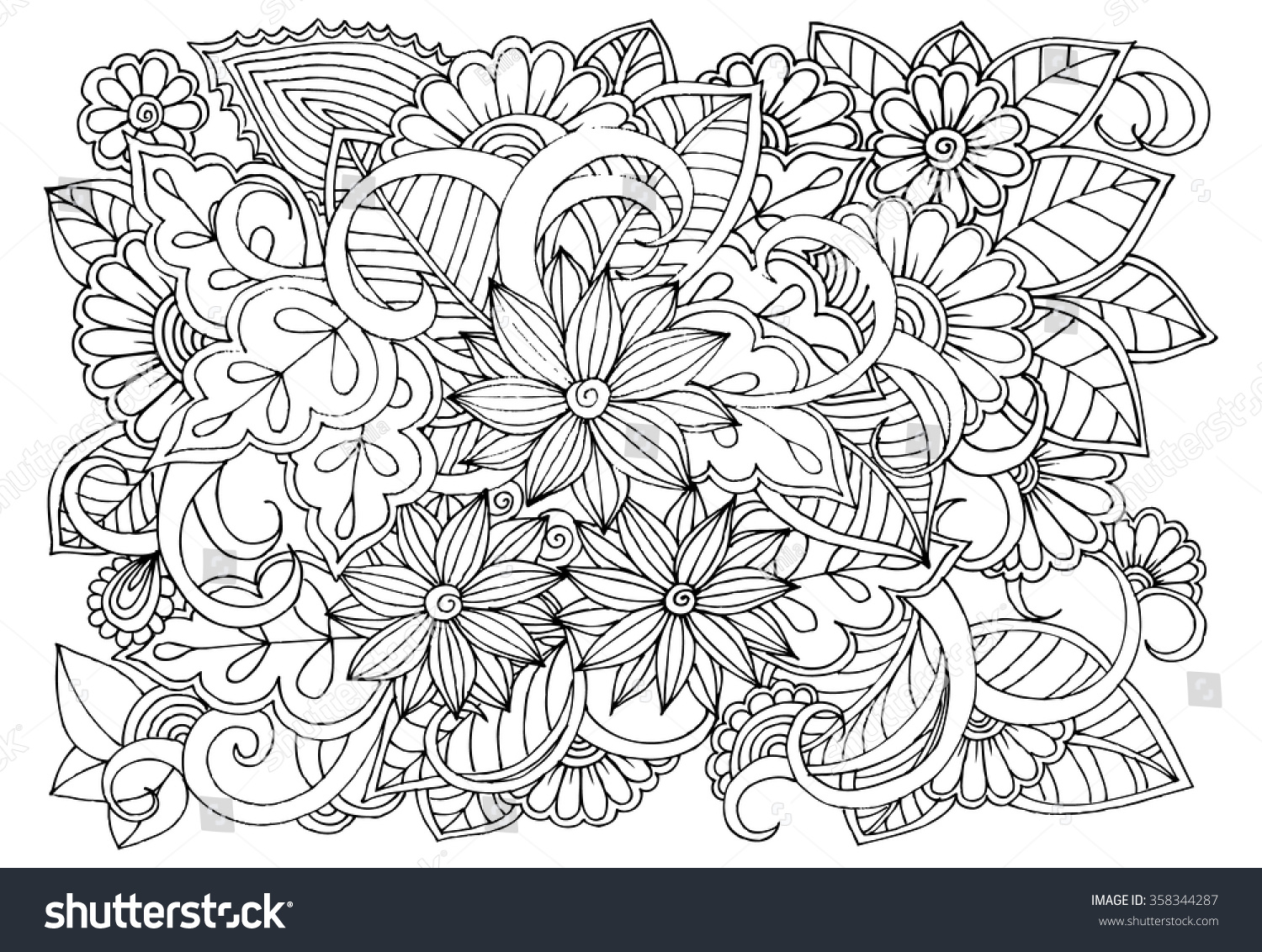 stock vector doodle floral pattern in black and white page for coloring book very interesting and relaxing job 358344287 including wildflower coloring pages coloring free download printable on wildflower coloring pages likewise wildflower coloring pages coloring free download printable on wildflower coloring pages together with wild flowers coloring pages google search piante pinterest on wildflower coloring pages likewise wildflower coloring pages coloring free download printable on wildflower coloring pages