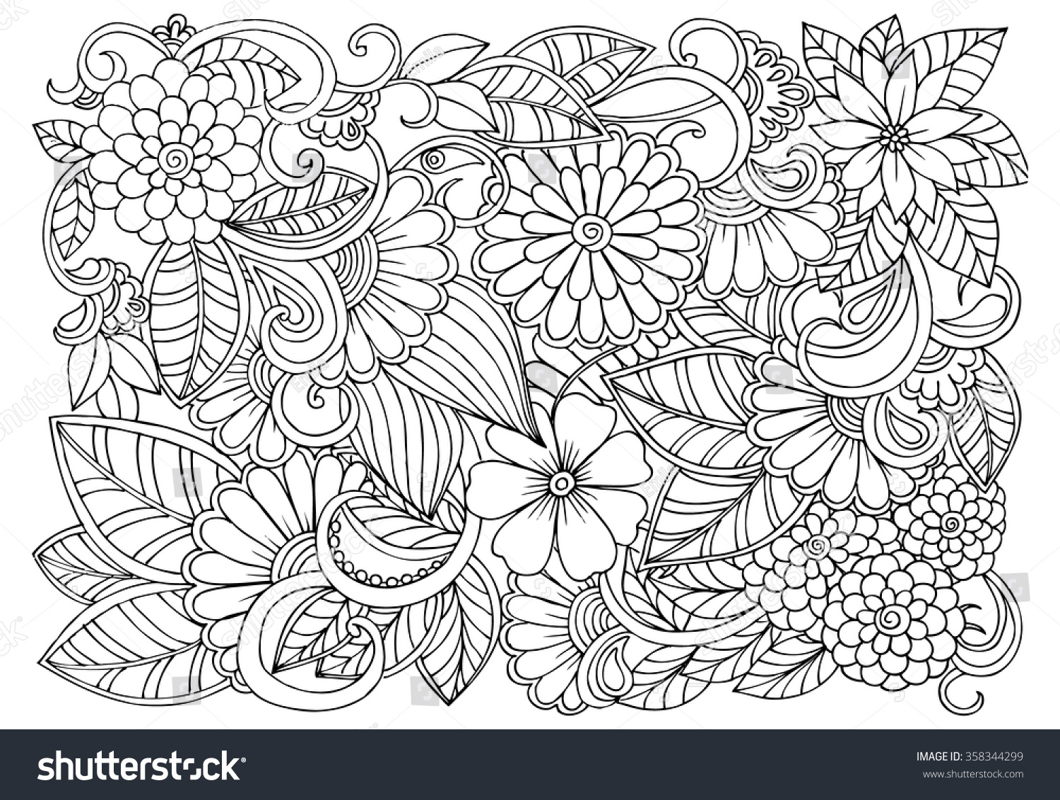 Coloring pages for relaxation - Doodle Floral Pattern In Black And White Page For Coloring Book Very Interesting And