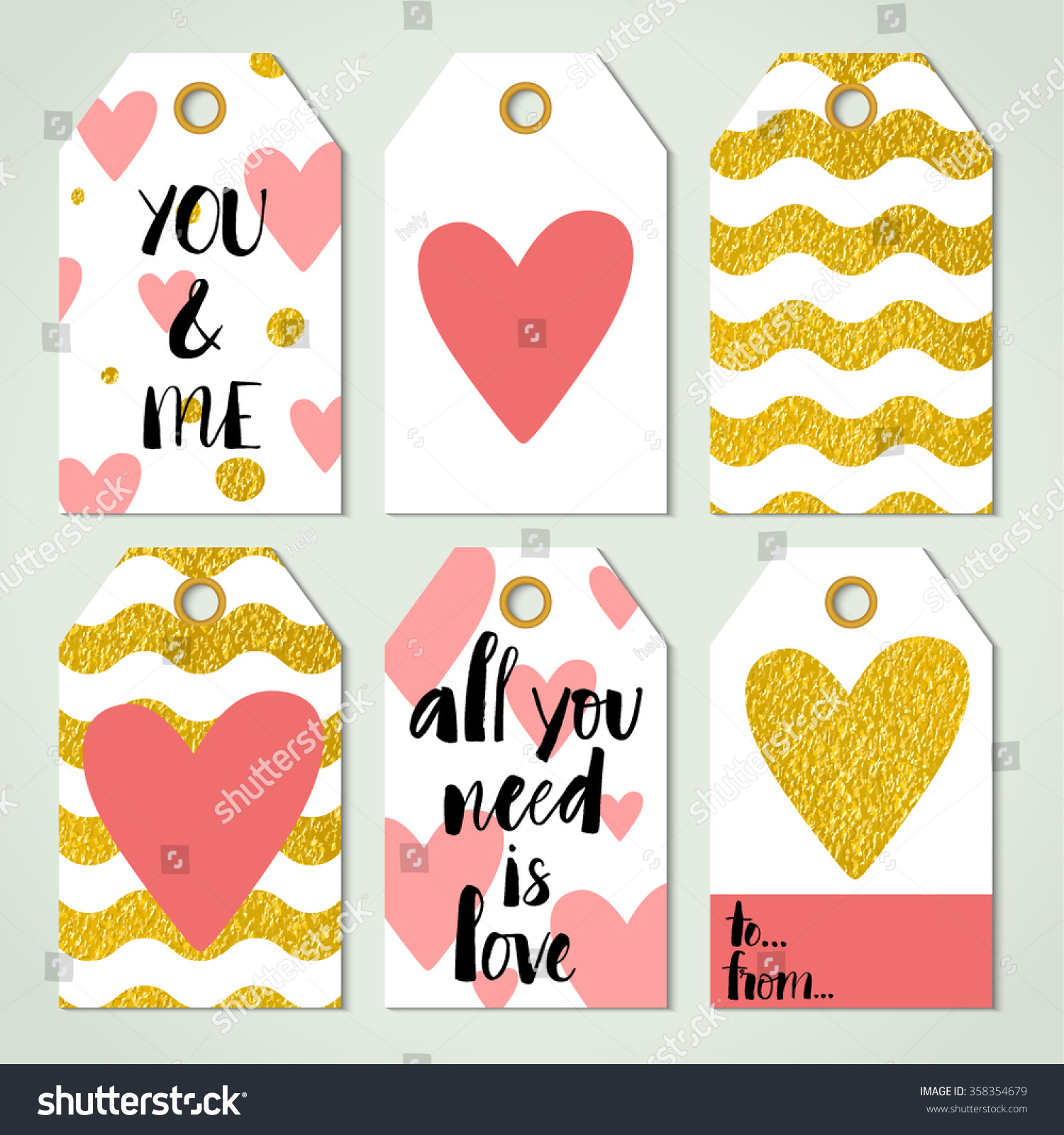 Six Valentines Day Card Templates Modern Stock Vector Royalty Free