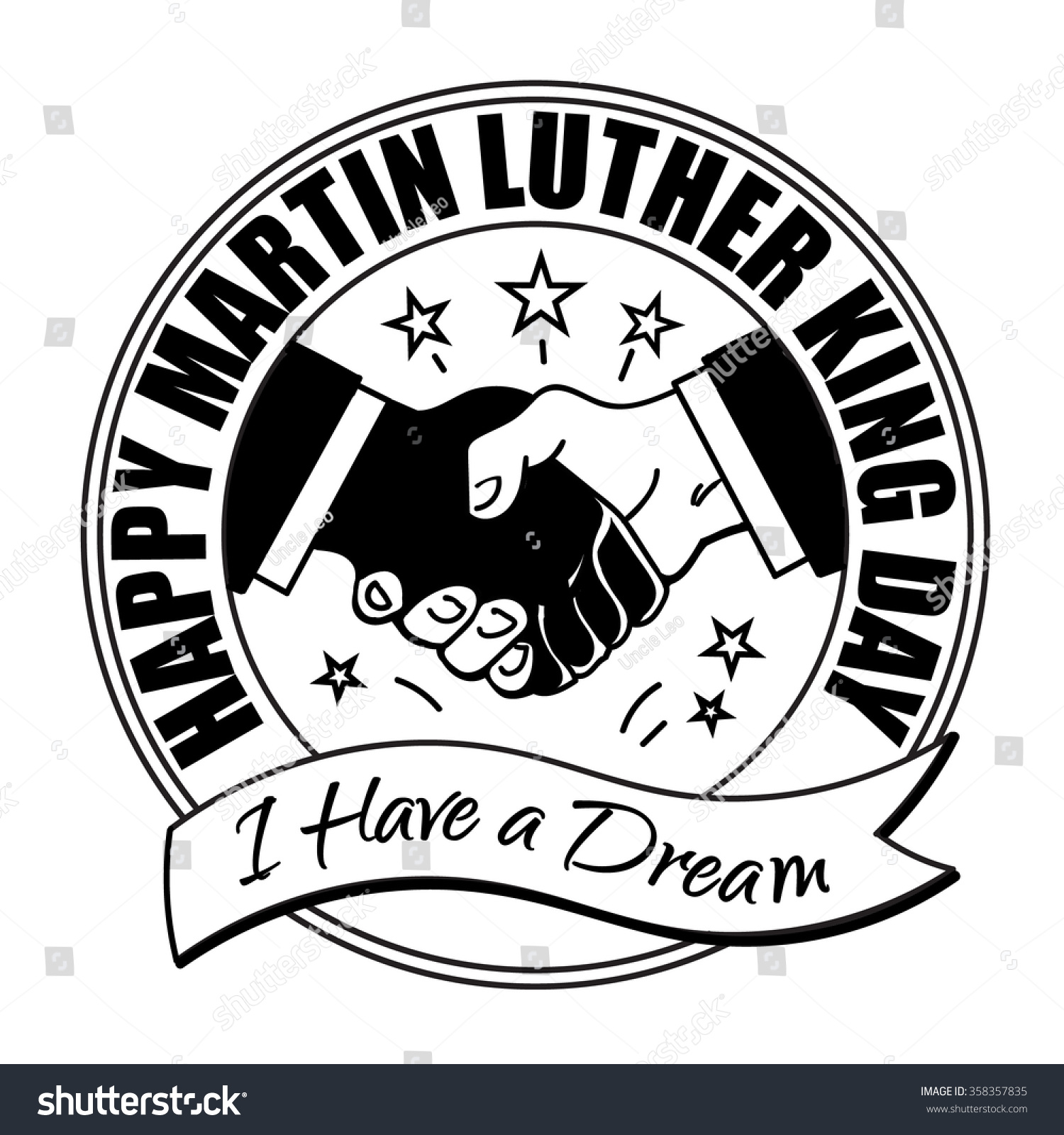 Happy martin luther king badge shaking stock vector 358357835 happy martin luther king badge shaking hands design and white vector illustration biocorpaavc Gallery