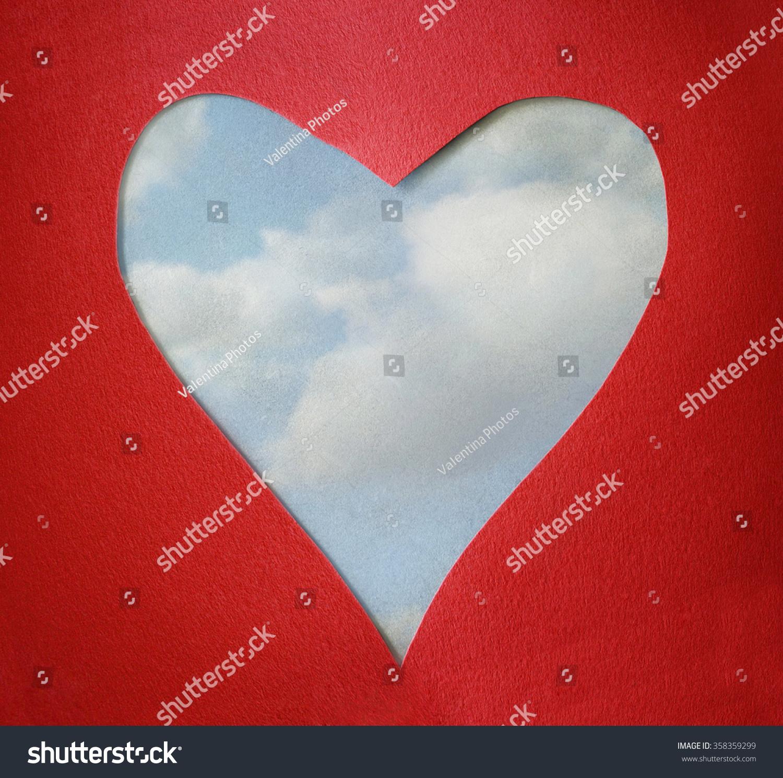 Big Red Heart Shape Cutout Cardboard Stock Photo 358359299 Shutterstock