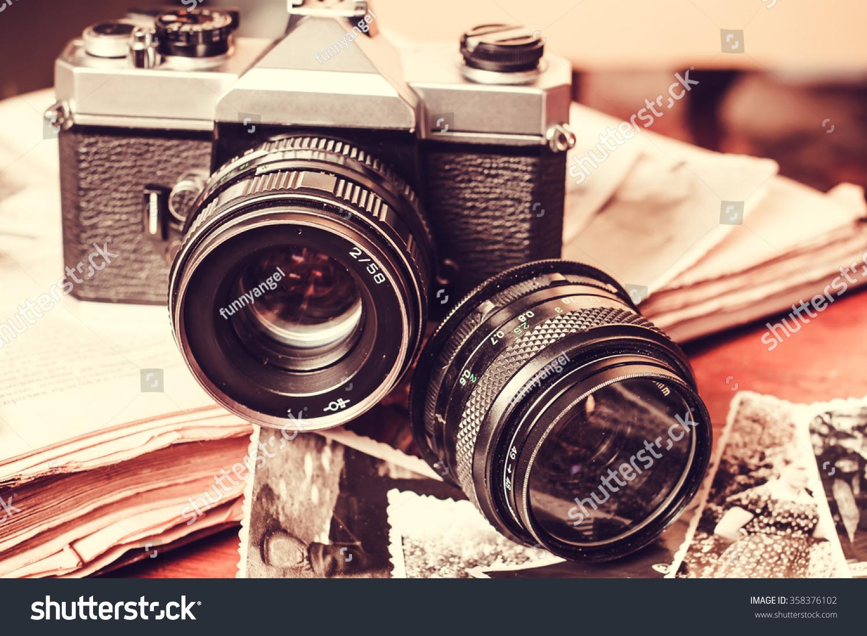 old retro vintage camera books photography imagen de archivo stock 358376102 shutterstock. Black Bedroom Furniture Sets. Home Design Ideas