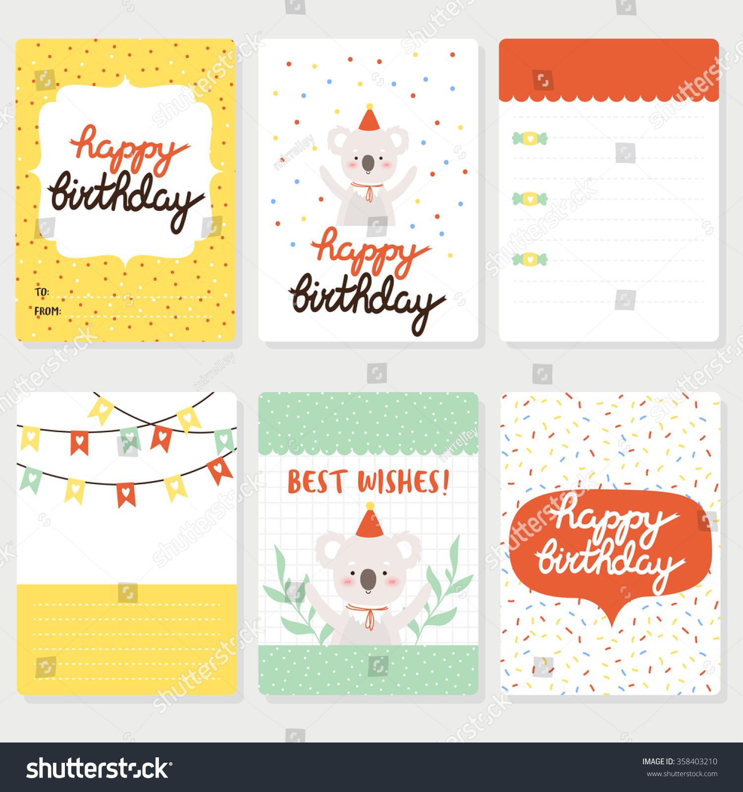 Set Six Birthday Cards Notes Cute Stock Vektorgrafik Lizenzfrei