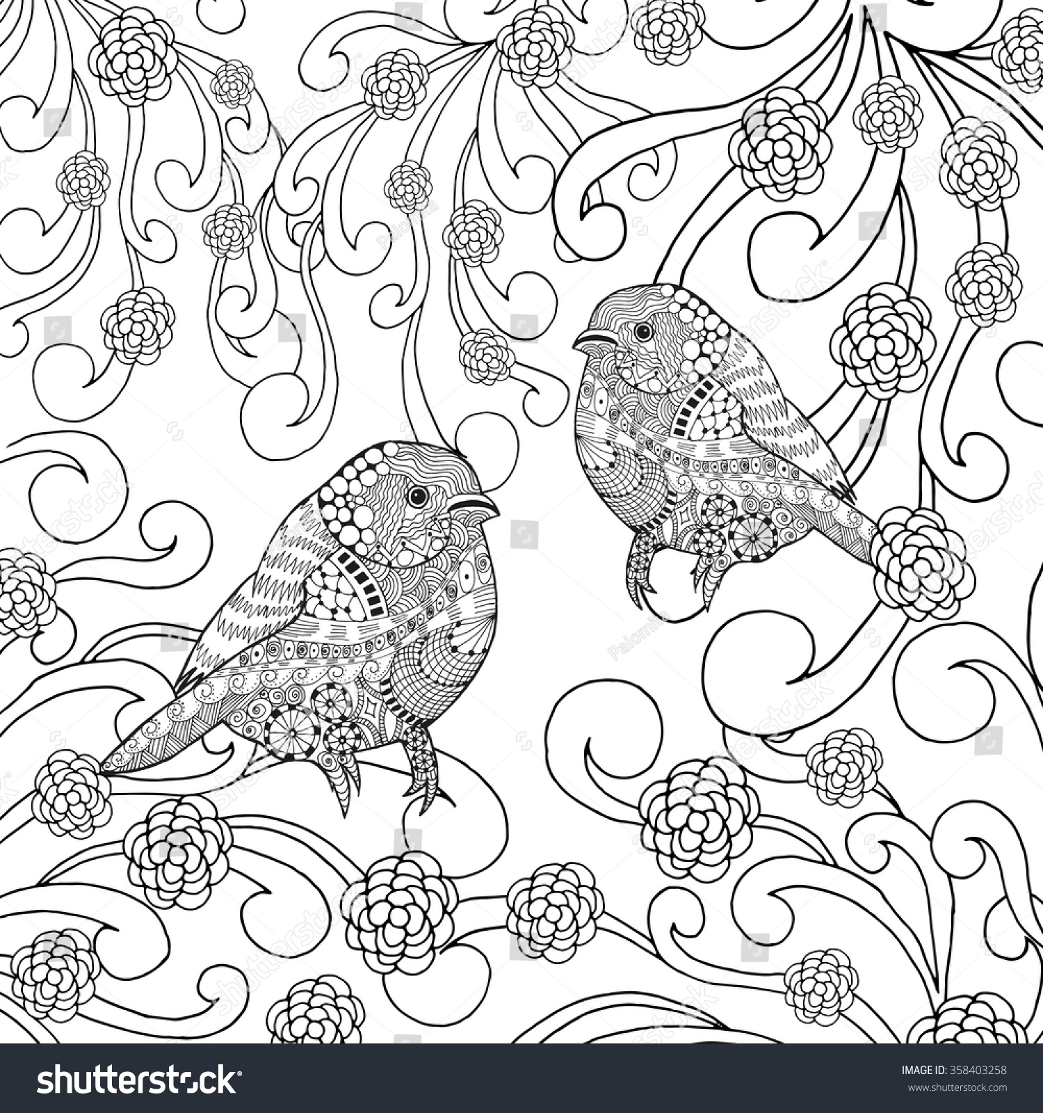 Birds Coloring Page Animals Hand Drawn Stock Vector 358403258