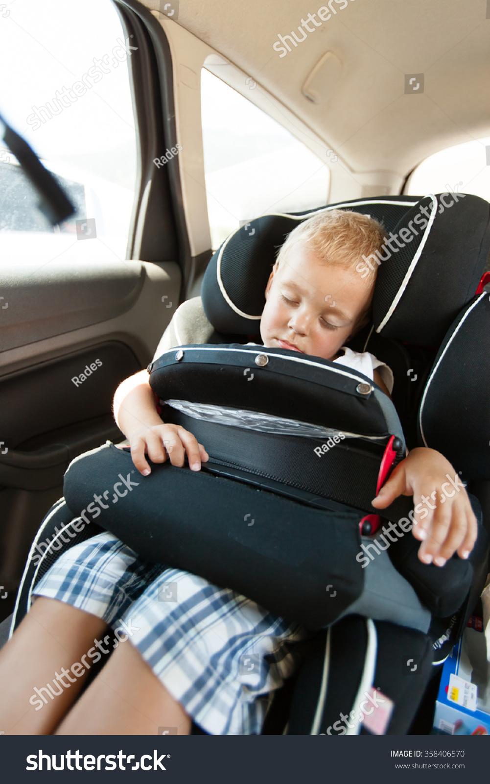 Little Boy Sleeping In Car Seat Safety 358406570