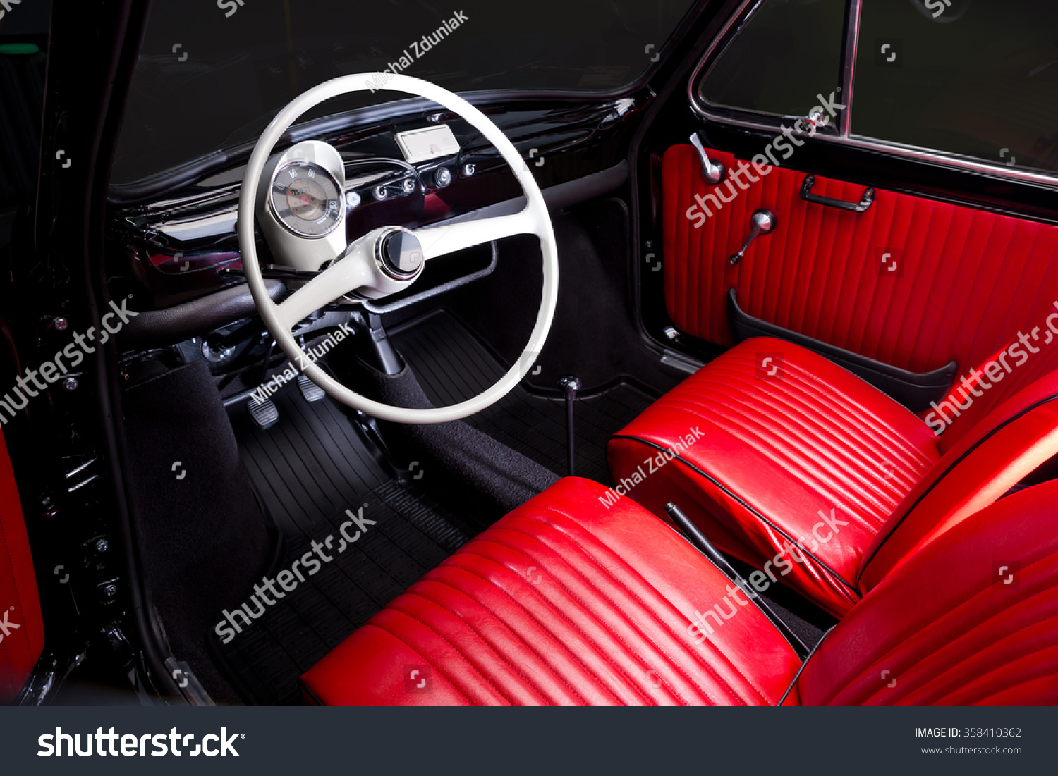 classic car interior red leather stock photo 358410362 shutterstock. Black Bedroom Furniture Sets. Home Design Ideas