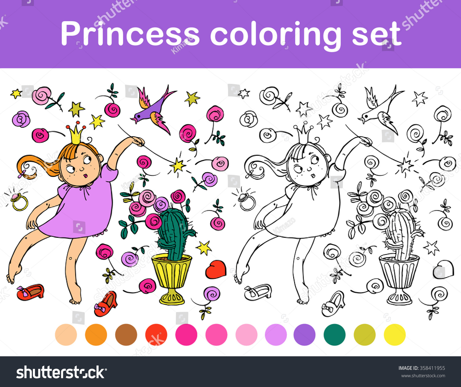 Princess coloring set - Princess Coloring Set With Roses Great Illustration For A School Books And More Vector
