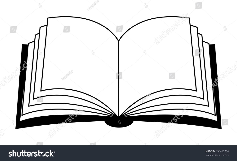 Patos Para Colorear Para Para Con Para Vector Stock Sin: Open Book Vector Clipart Silhouette, Symbol, Icon Design