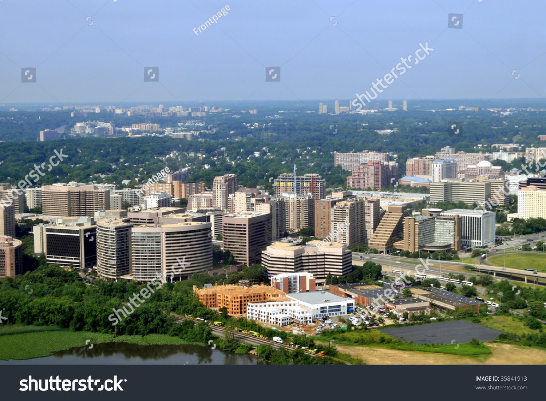 Aerial Crystal City Urban Neighborhood Arlington Stock ...