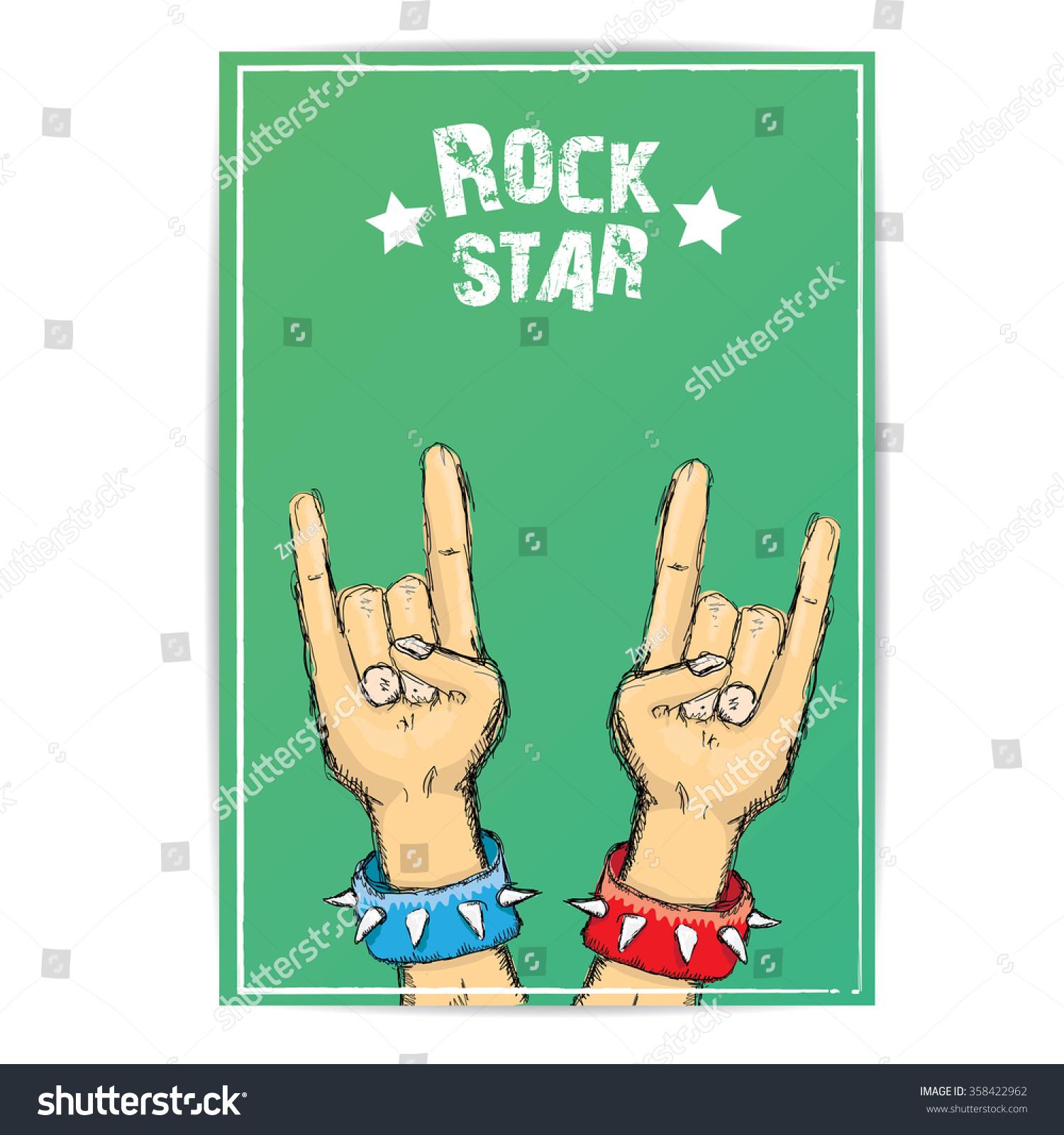 Rock n roll poster design - Rock N Roll Music Background Rock N Roll Icon Rock Concert Poster Design Template