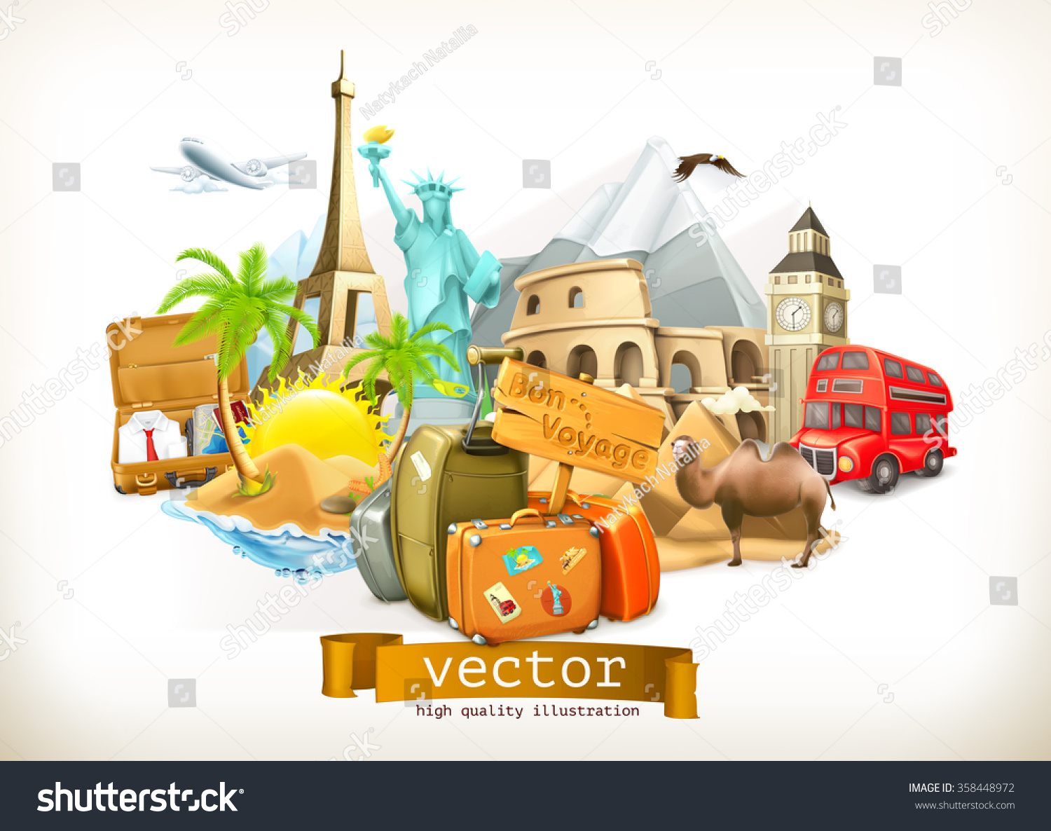 travel vector illustration stock vector 358448972 shutterstock. Black Bedroom Furniture Sets. Home Design Ideas