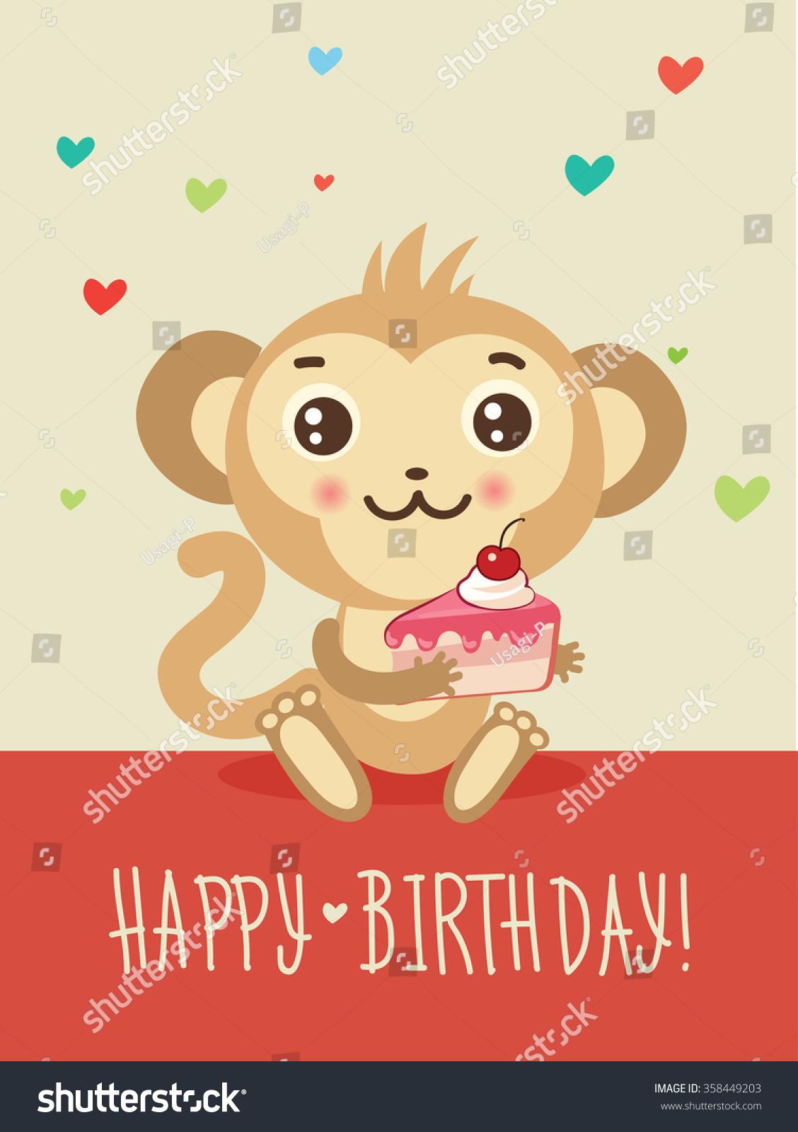 Happy Birthday Card Funny Monkey Cake Vector 358449203 – Monkey Birthday Card