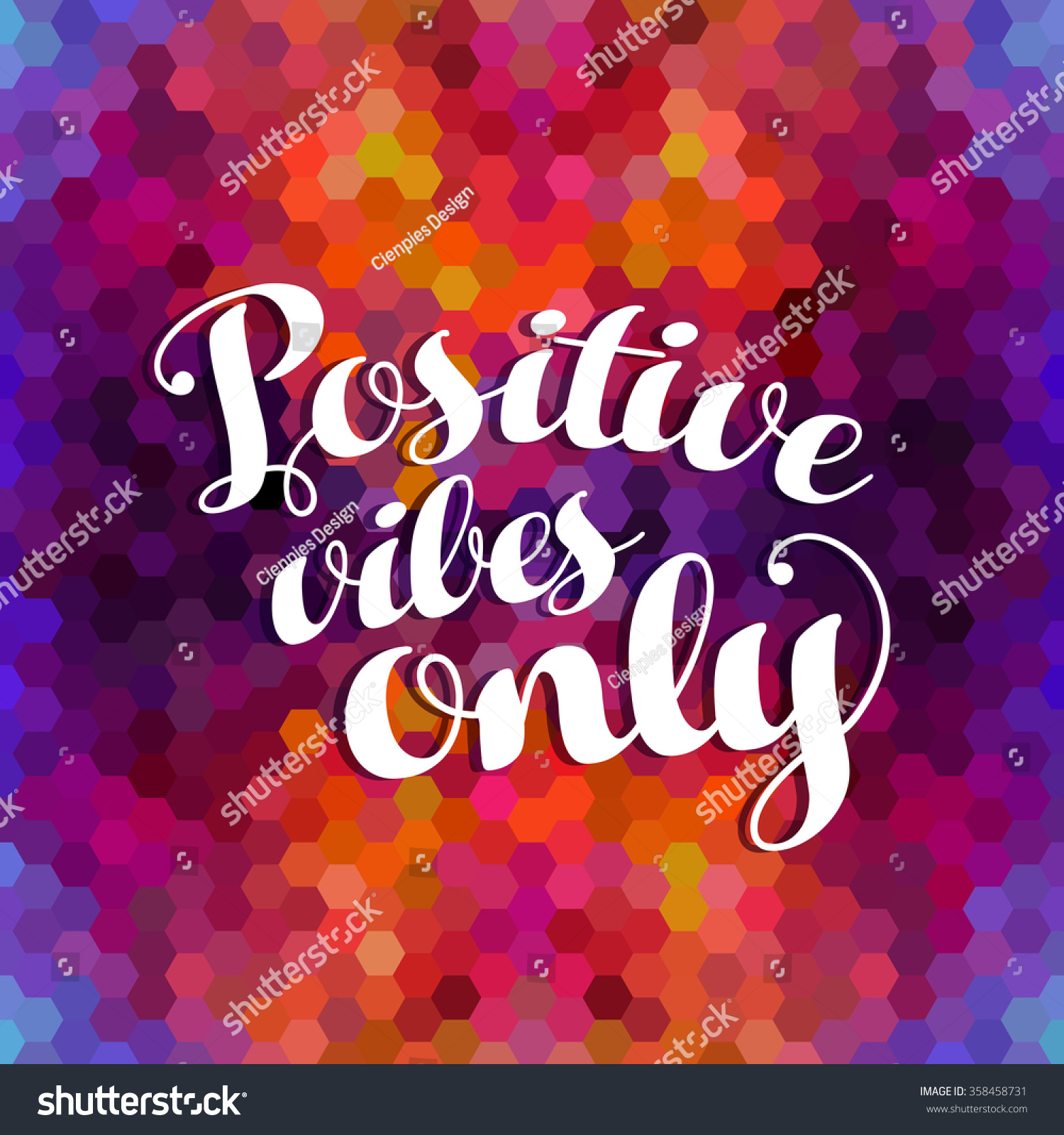 Quote poster design inspiration - Positive Vibes Only Positivity Concept Poster Design Inspiration Quote On Colorful Grid Mosaic Background