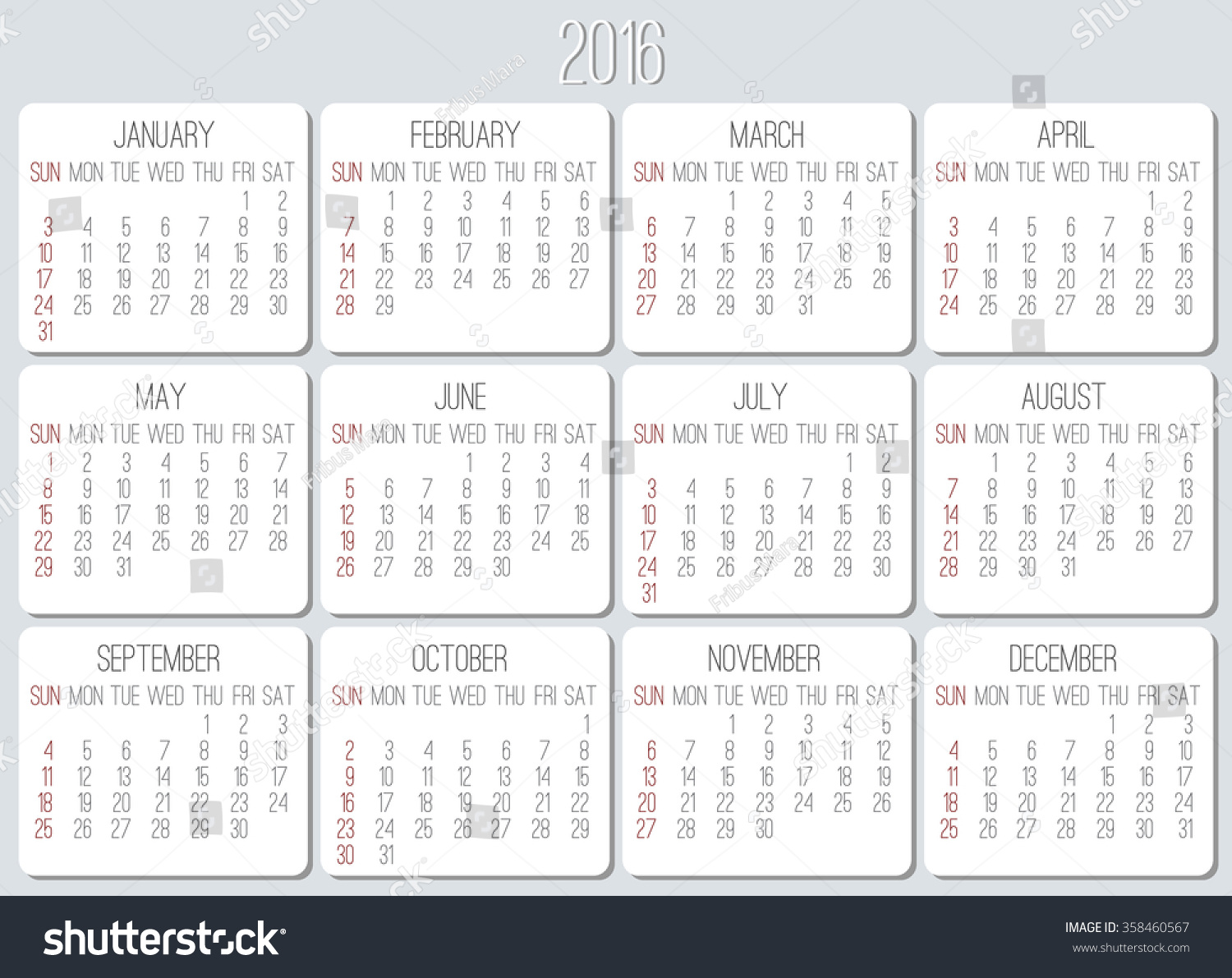 Year Calendar Starting : Year plain vector monthly calendar stock