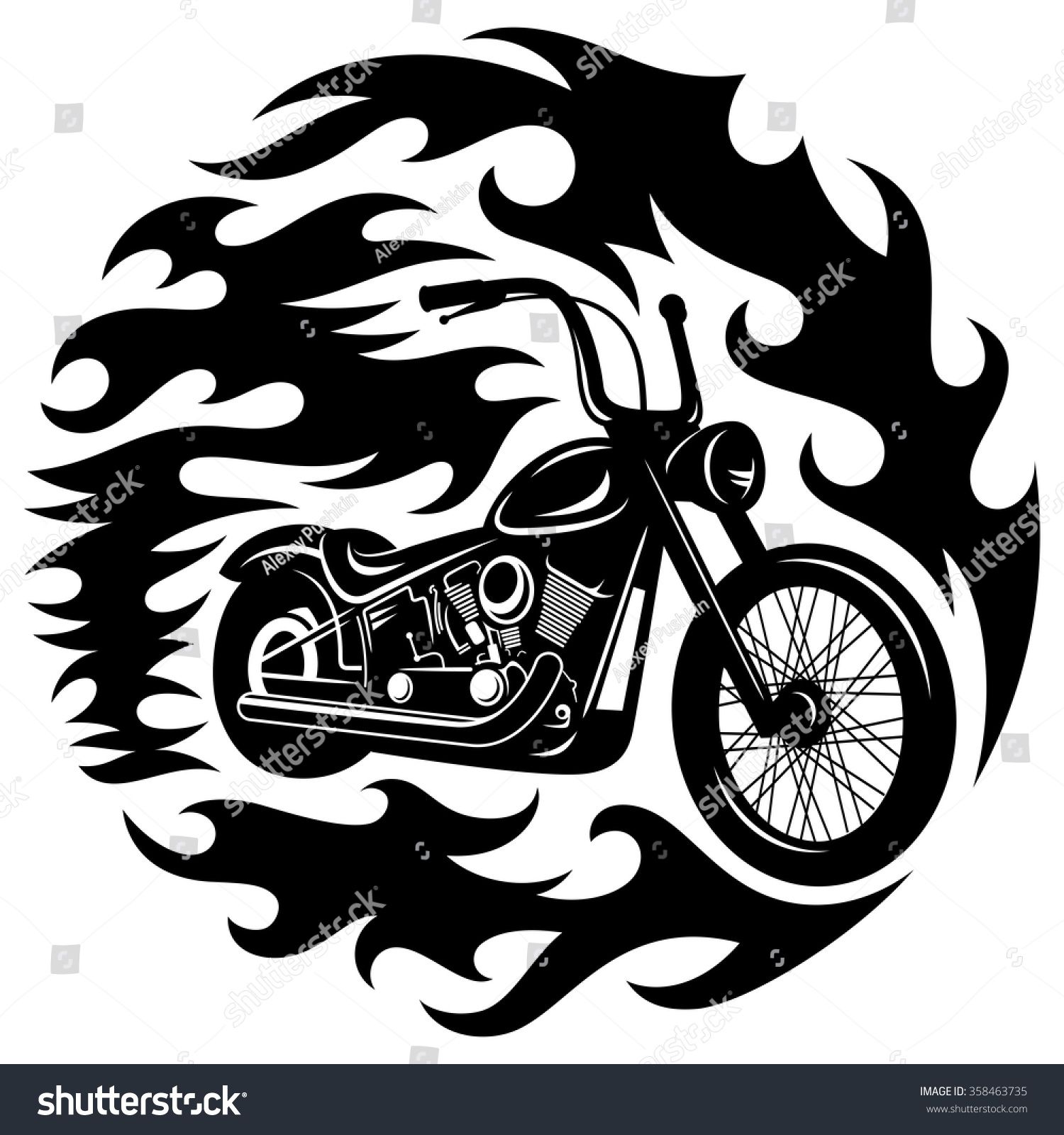 Motorcycle clip art with flames - Classic Chopper Motorcycle With Spurts Of Flame T Shirt Print Graphics