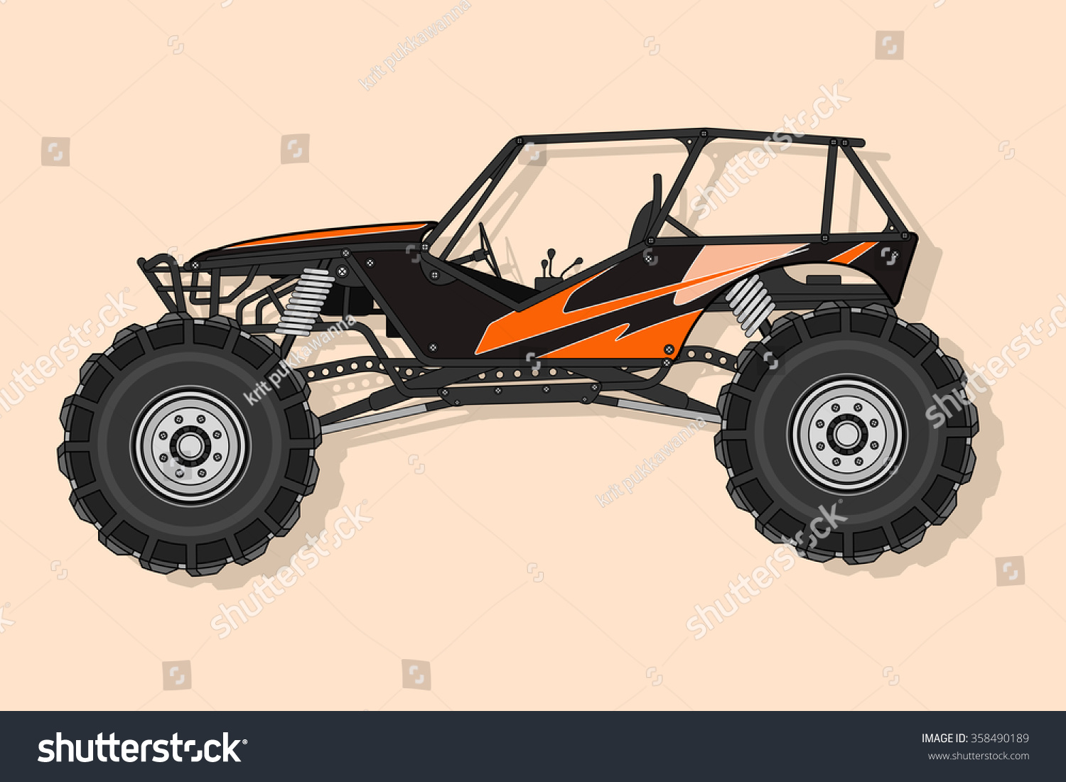 off road buggy 4x4 vector stock vector 358490189. Black Bedroom Furniture Sets. Home Design Ideas
