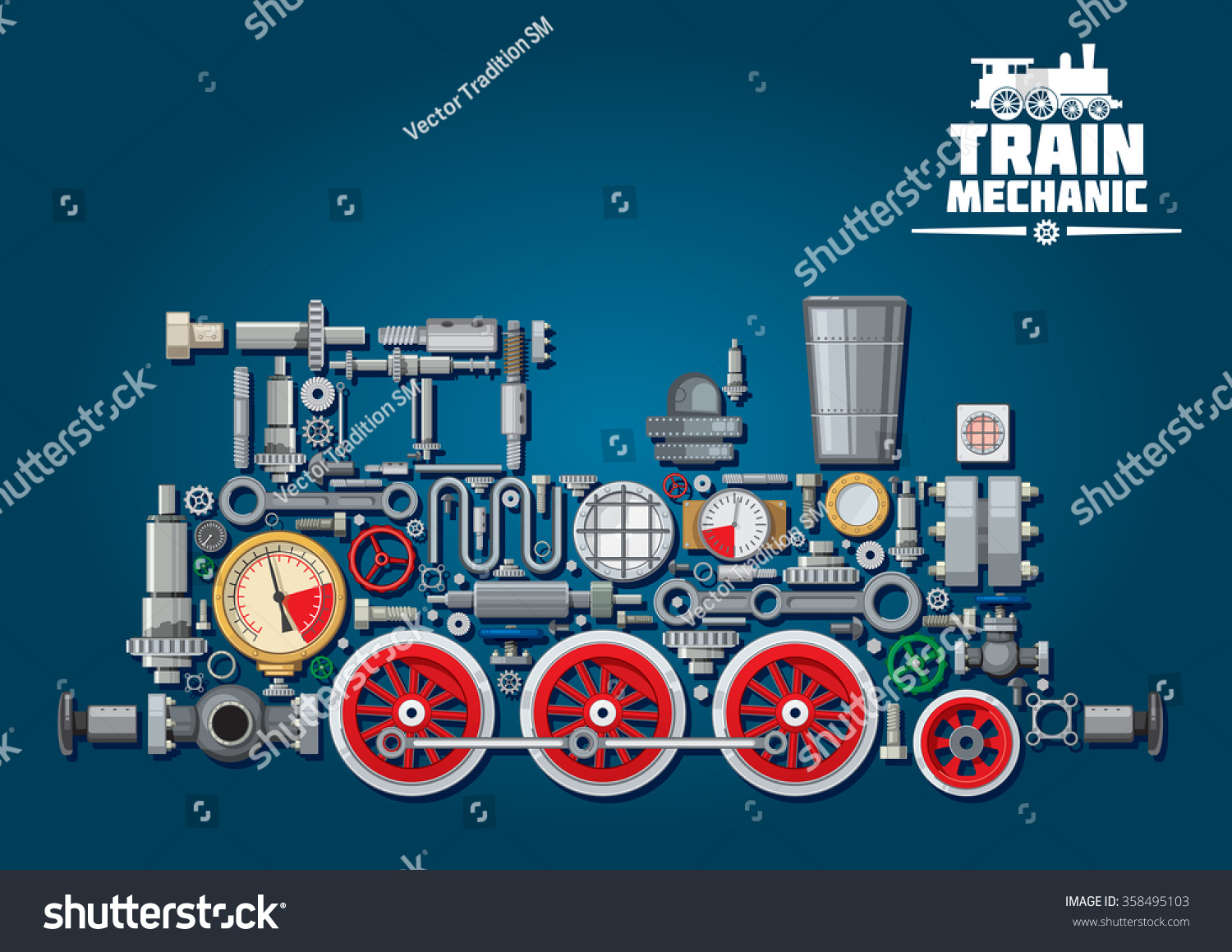 Steam Locomotive Train Made Mechanical Parts Stock Vector