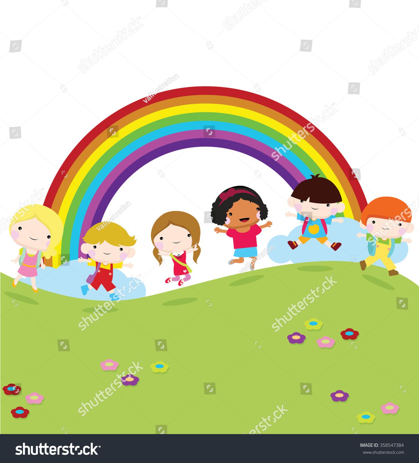 Children Running School Grass Rainbow Background Stock Vector ...