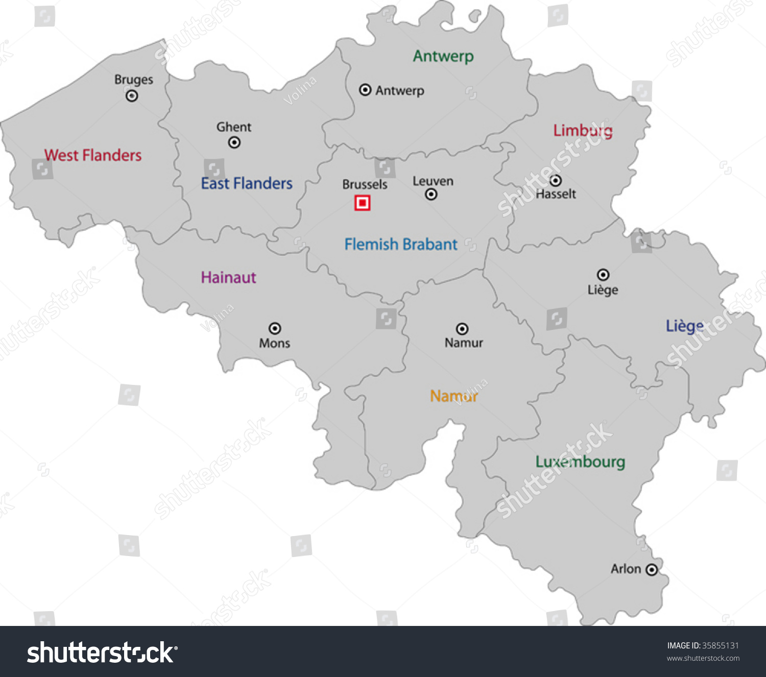 Gray Belgium Map Provinces Main Cities Vector 35855131 – Map of Belgium with Cities