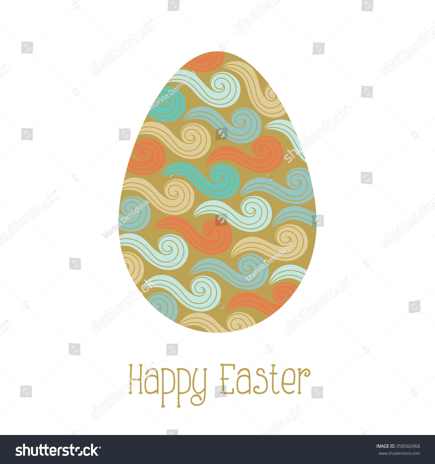 Greeting Card With Gold Easter Egg Abstract Wave Pattern Vector Illustration Isolated On White