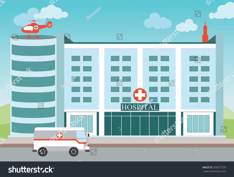 Hospital Building Medical Helicopter Ambulanceexterior