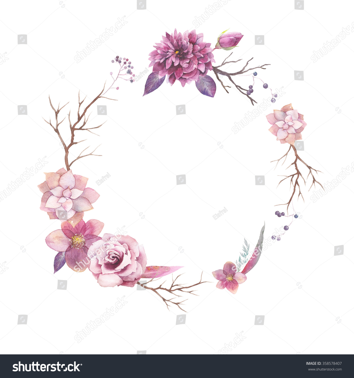 Watercolor Floral Wreath Isolated On White Stock