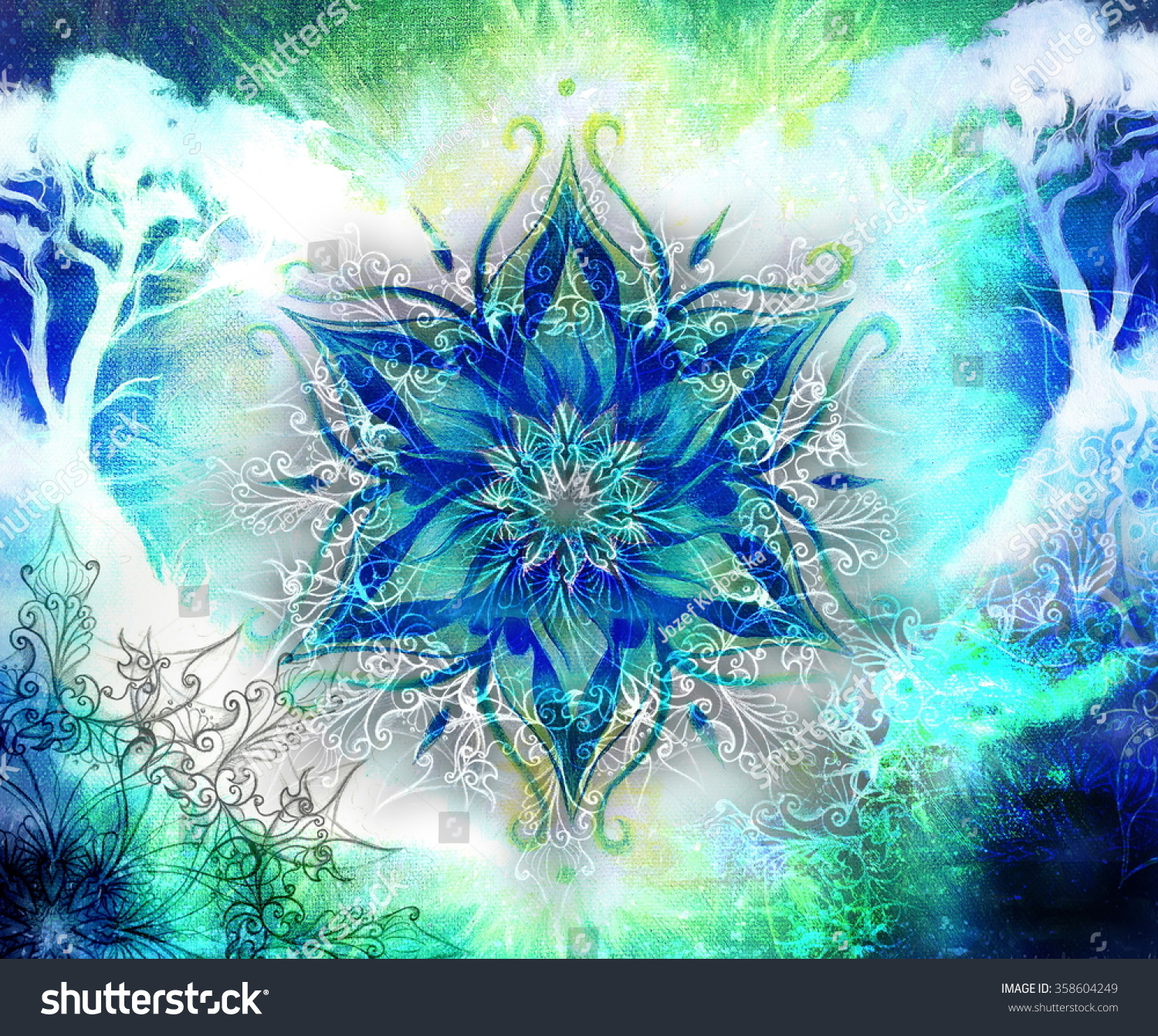 Amazing Wallpaper Marble Mandala - stock-photo-painting-tree-wallpaper-landscape-and-ornamental-mandala-oriental-background-collage-blue-black-358604249  Picture_752793.jpg