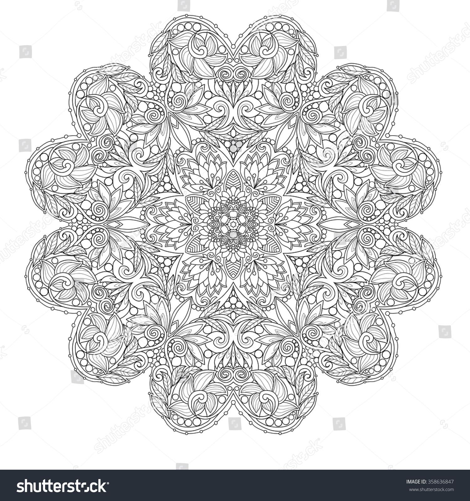 Decorative Mandala Love Hearts Coloring Book Stock Photo (Photo ...