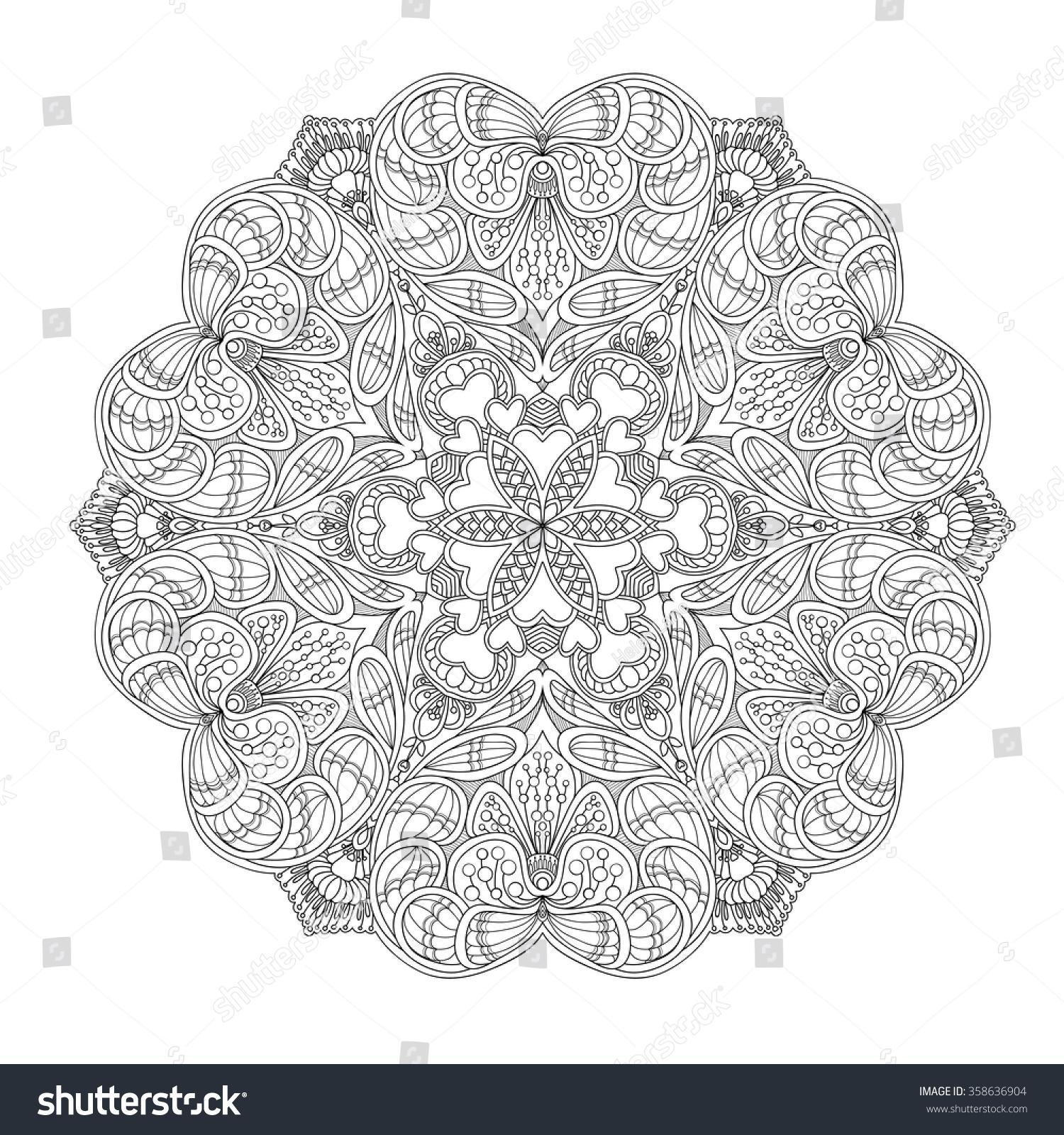 Decorative Mandala Love Hearts Coloring Book Stock Vector (Royalty ...