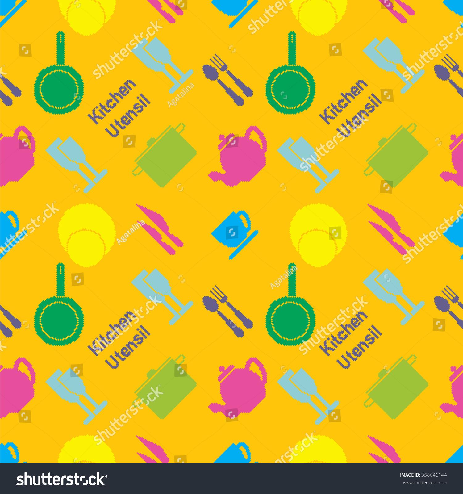 Seamless Pattern Colored Kitchen Utensil Pixel Stock