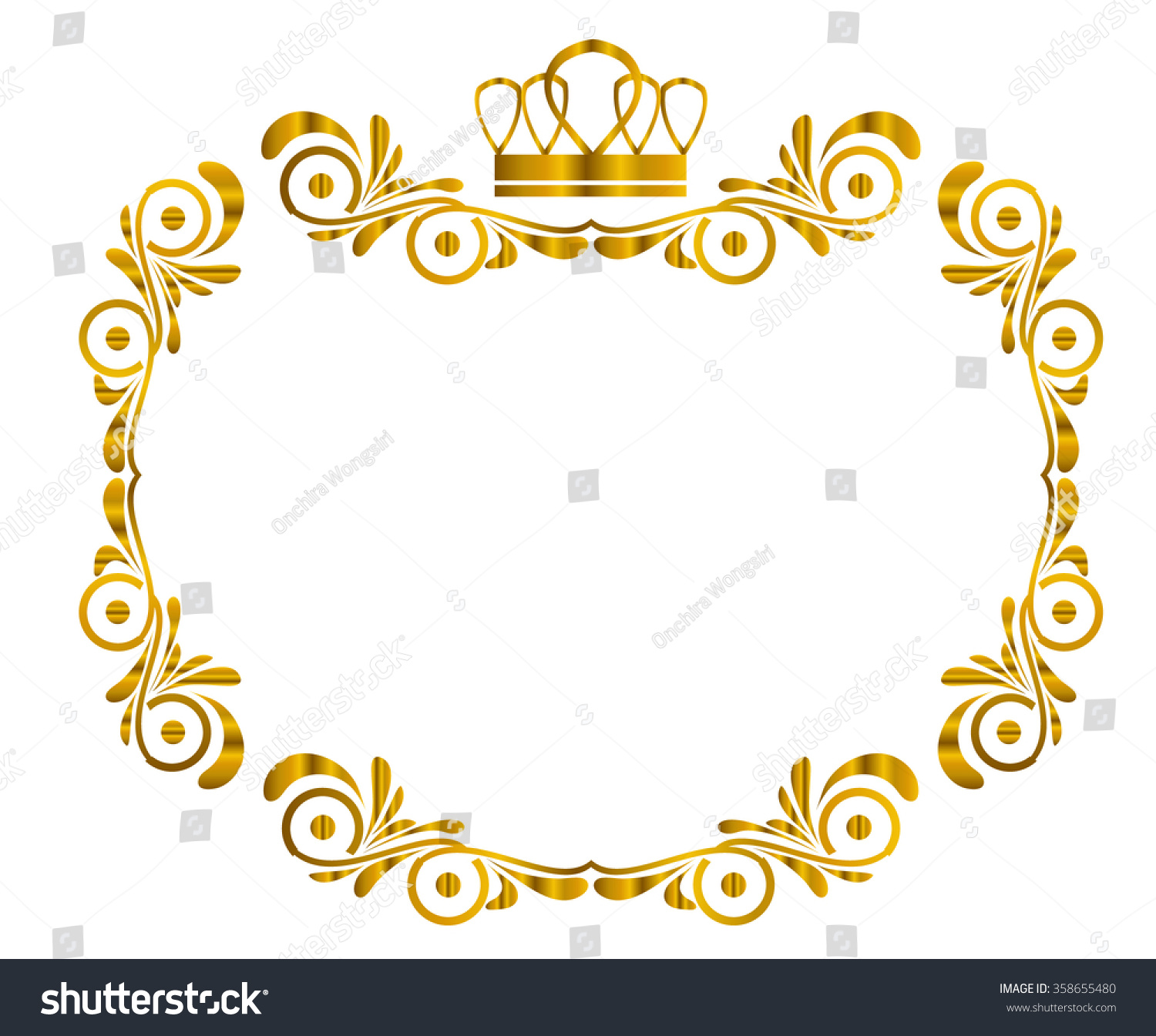 golden frame and border with crown on top isolated