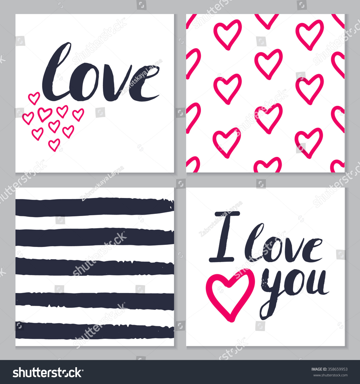 set of love cards with hand brush lettering and hearts in dark blue and pink colors