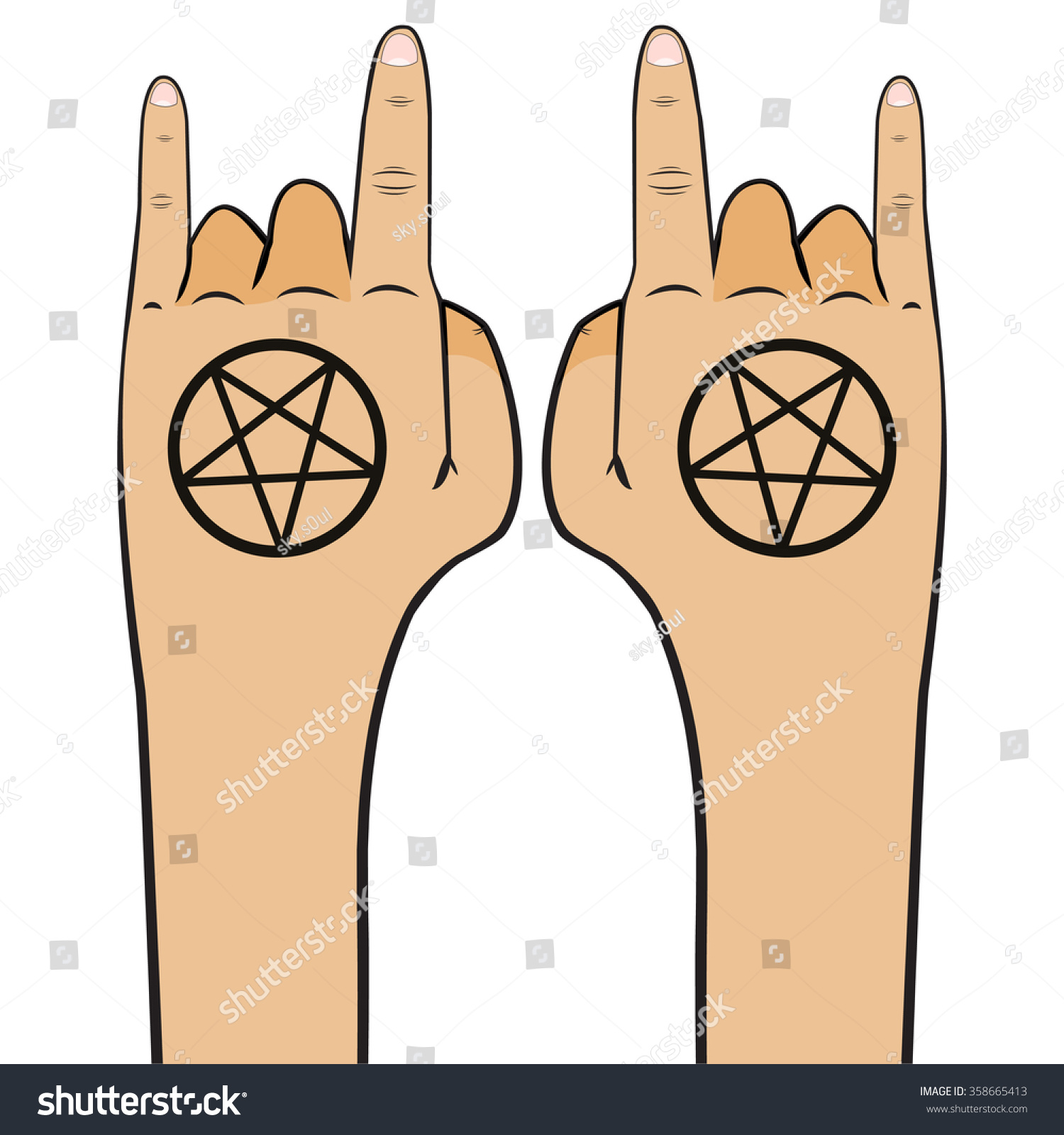 Informal Emotions Pentagram Tattoo Hand Emotions Stock Vector