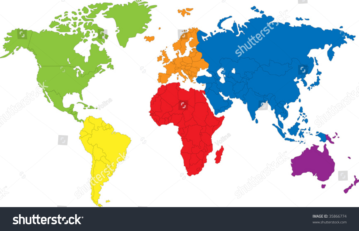 Colored Map World Countries Borders Stock Vector Royalty Free