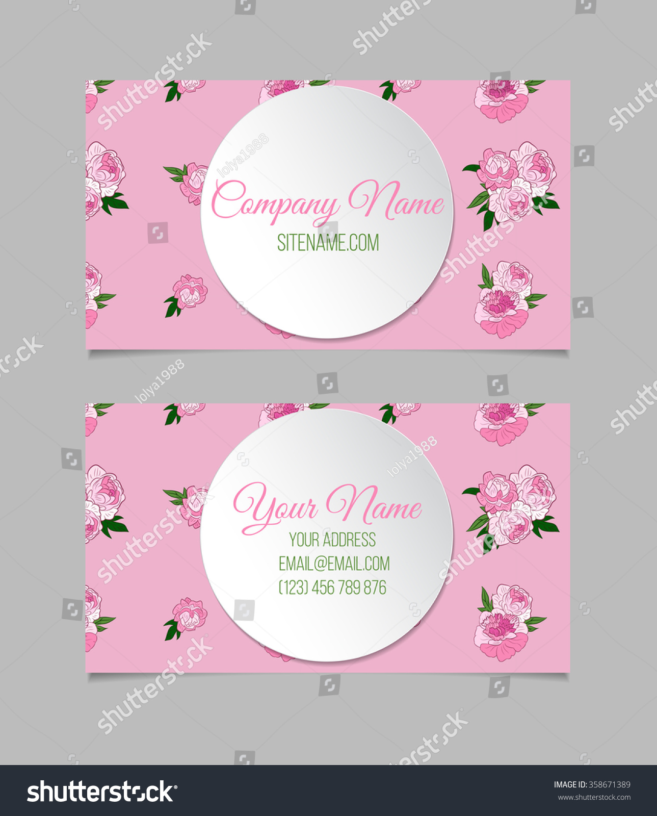 Doublesided Floral Business Card Template Peonies Stock Vector ...