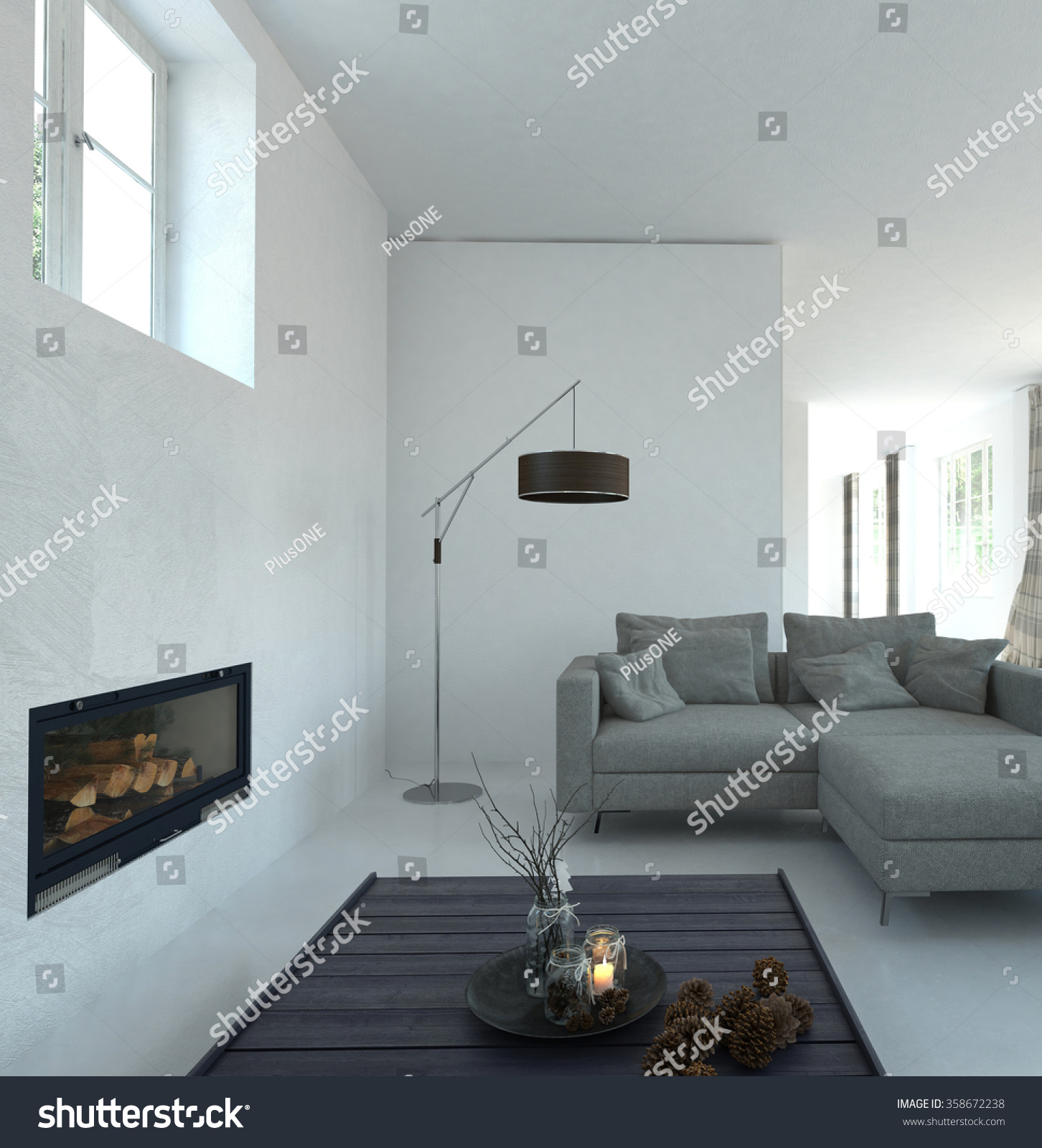 Home Interior of Modern Living Room with White Walls Gray Sofa Fireplace and Tasteful Decor Accents Contemporary Floor Lamp in Spacious Living Room 3D Rendering