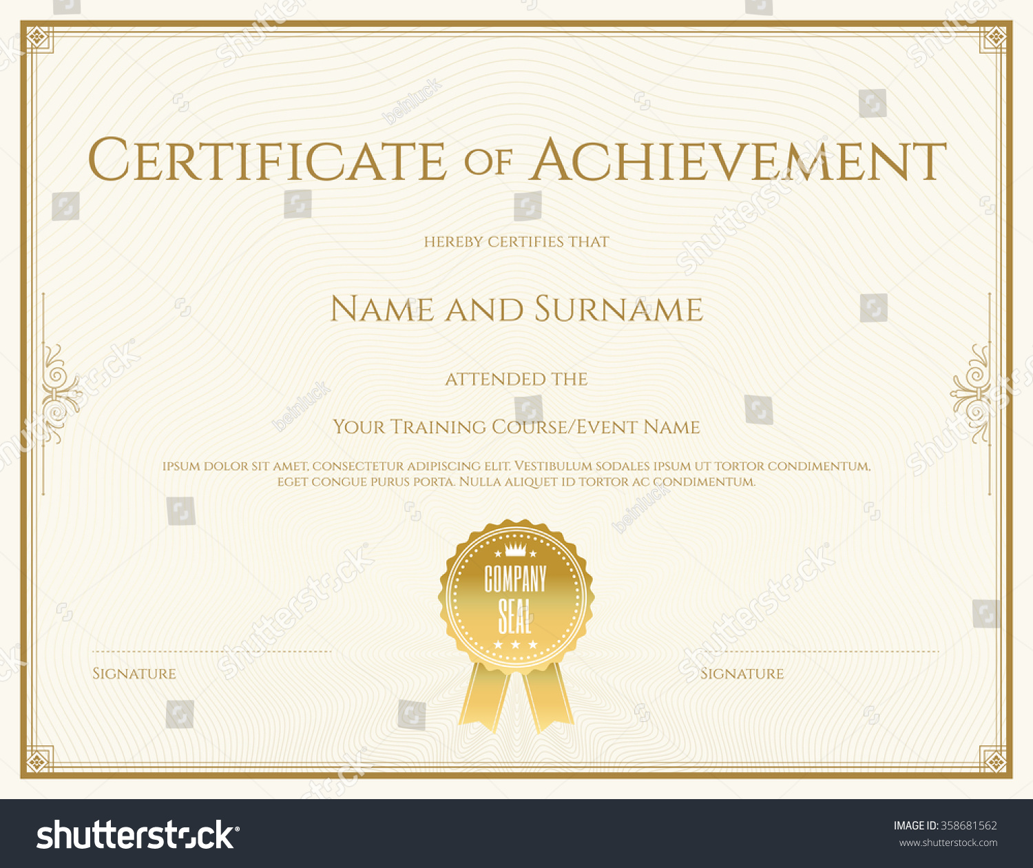 Certificate template vector achievement graduation completion certificate template in vector for achievement graduation completion yadclub