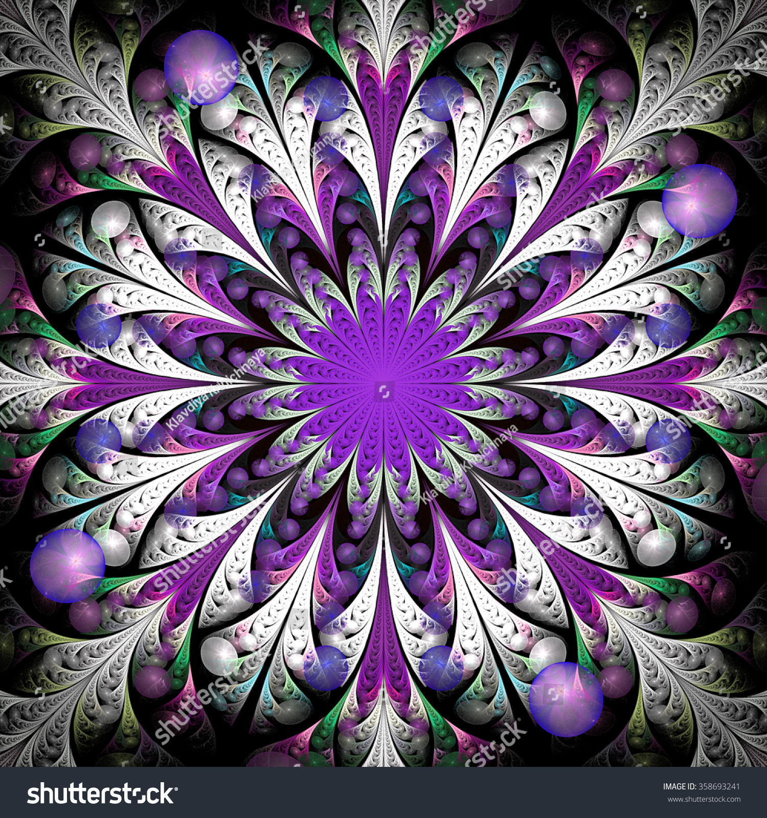 Fractal Black Flower Free Stock Photo: Fantasy Flower Purple Center Abstract Psychedelic Stock