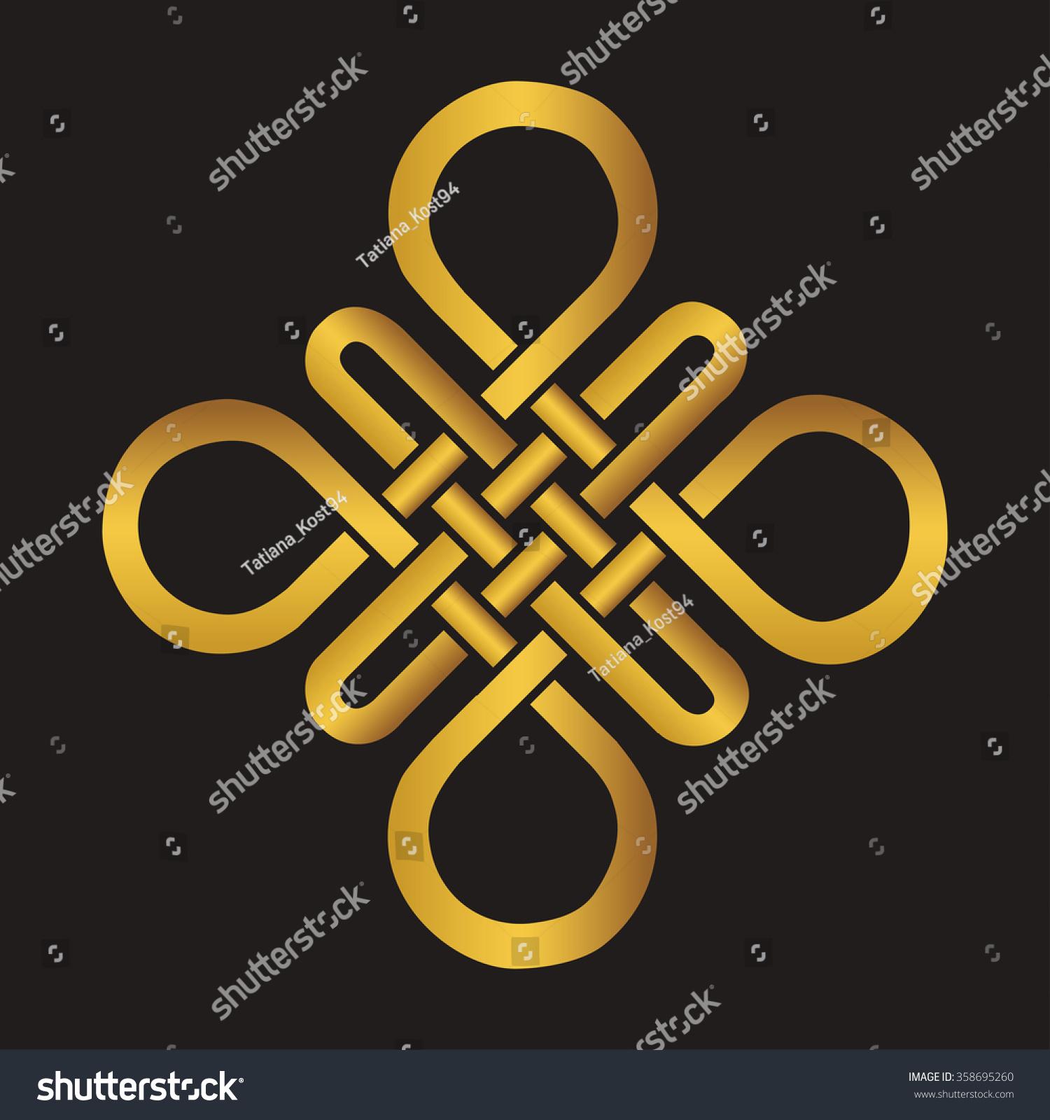 Endless Auspicious Knot China Ornamentvector Symbol Tibet Eternal