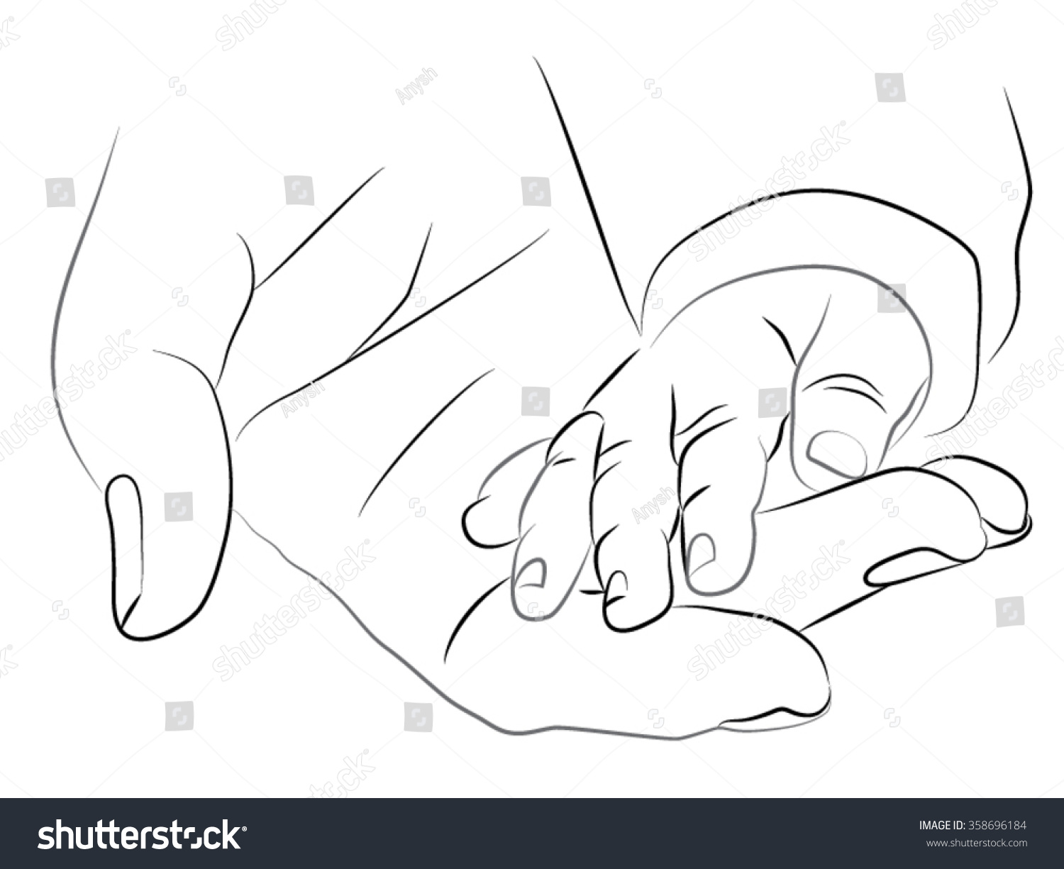 22d41d5e2 A woman holding a baby hand. Pencil black and white drawing. mother hand  holding.