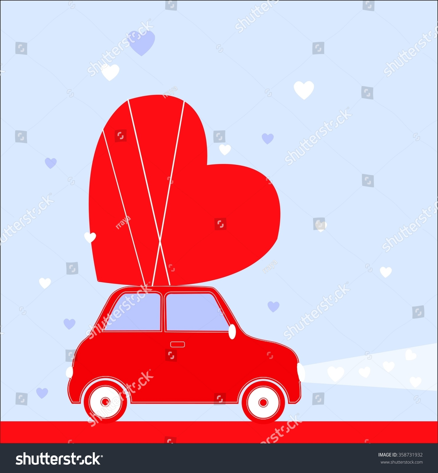 Red Car With Big Heart. Valentineu0027s Day Vector Illustration.