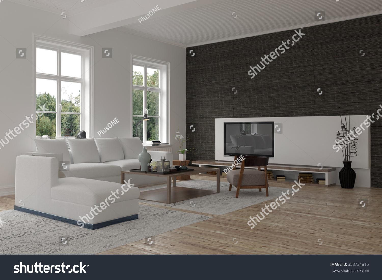 Spacious Modern Living Room Interior Black Stock