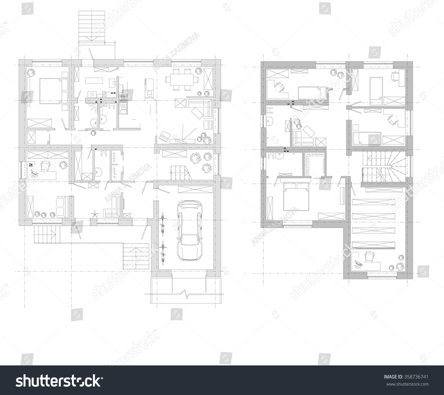 An example of the arrangement of furniture. plan two-