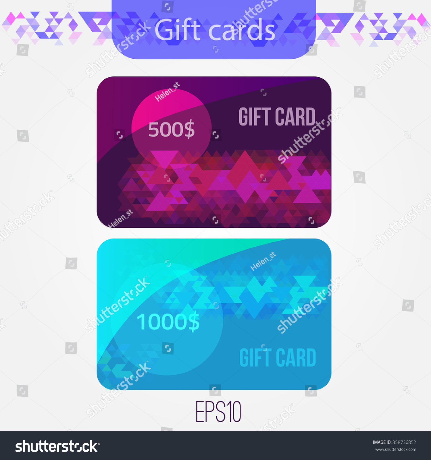 Set Triangle Gift Cards Abstract Mosaic Stock Vector 358736852 ...