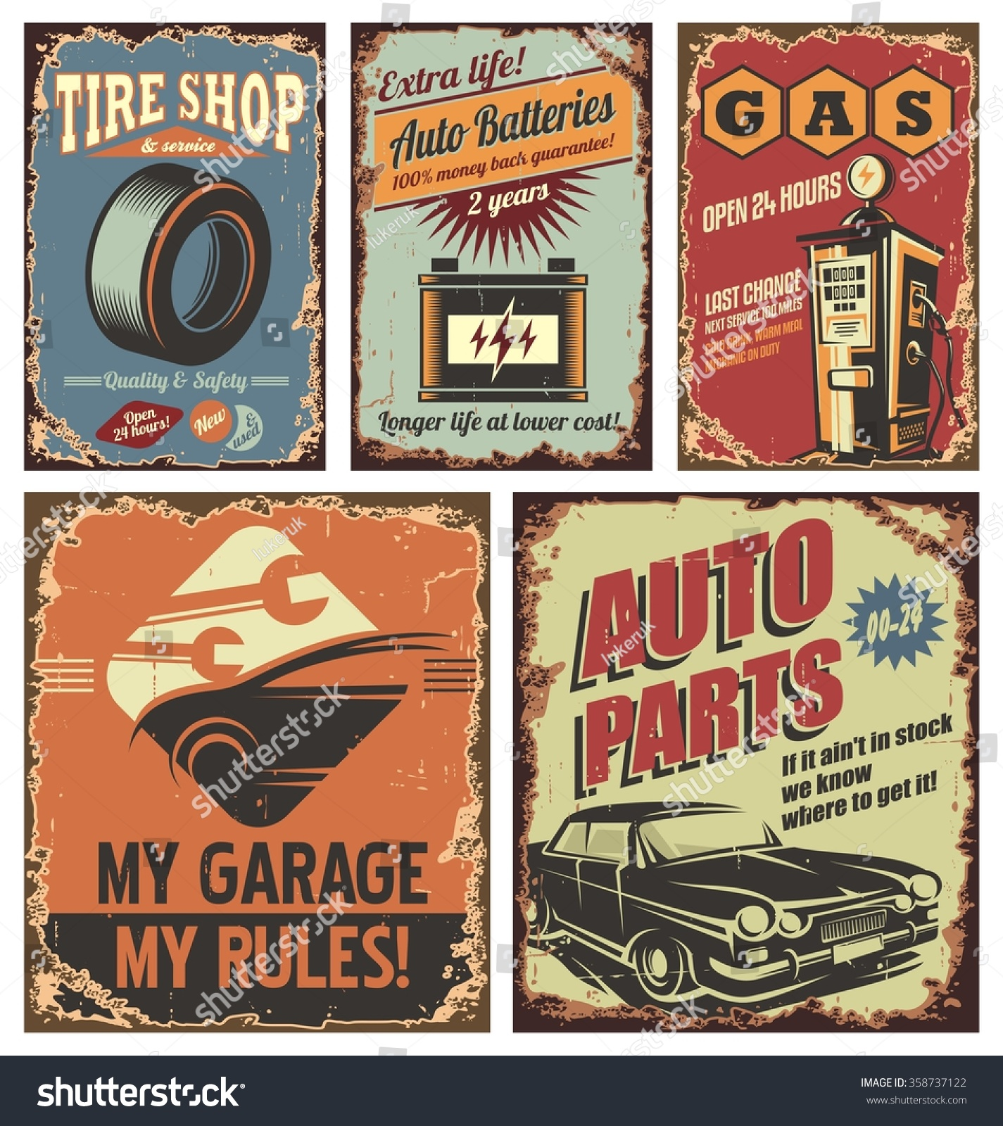 Old Auto Signs : Vintage car service tin signs and posters on old rusty