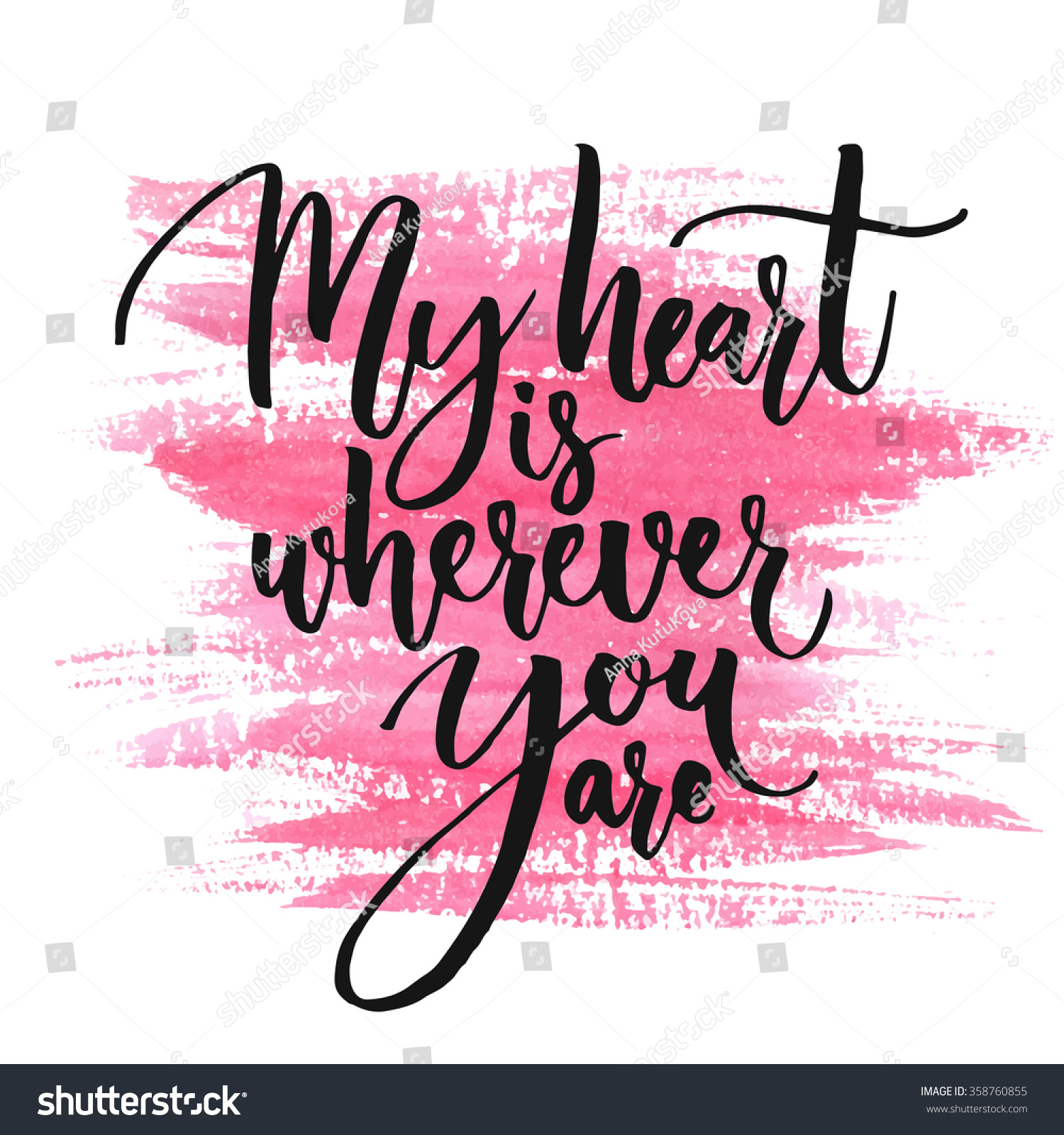 My Heart Wherever You Are Romantic Stock Vector 358760855